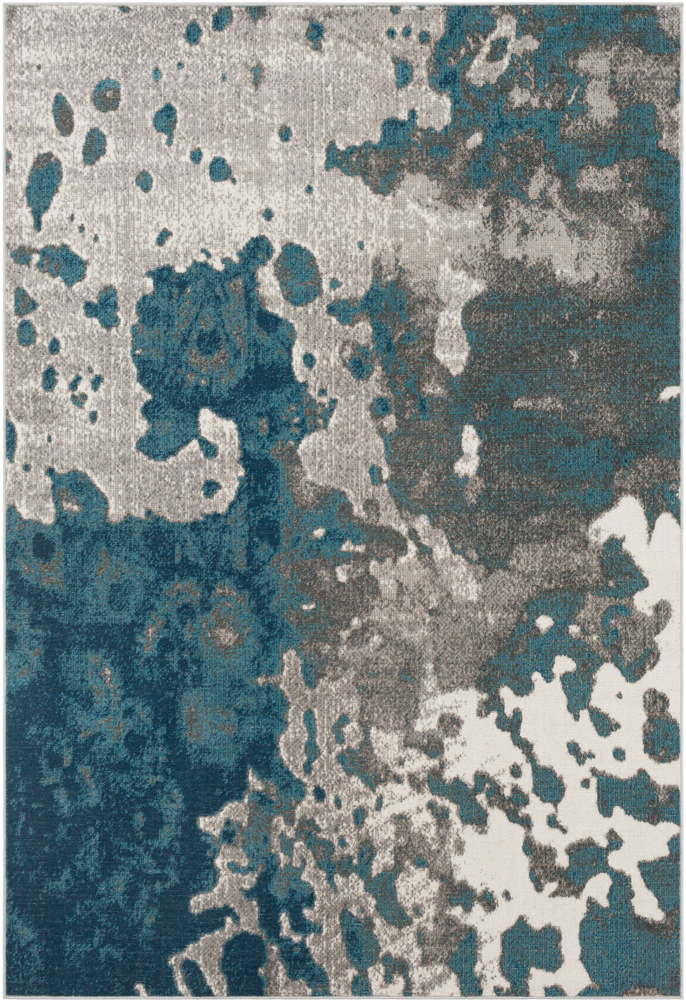 Ramm Distressed Abstract Teal/Taupe Area Rug Rug Size: Rectangle 7'10