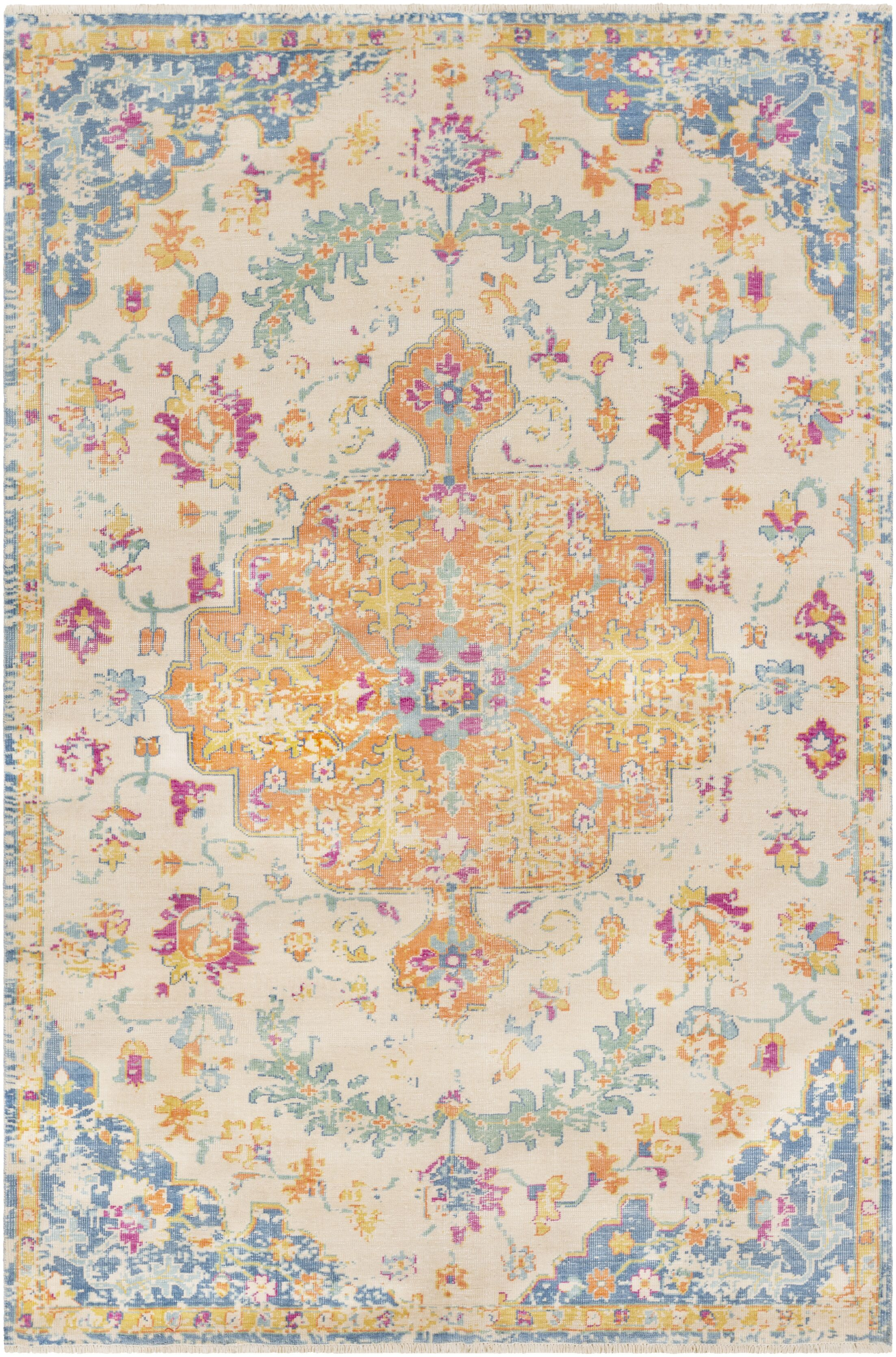 Ramsdell Vintage Hand-Knotted Wool Burnt Orange/Baby Blue Area Rug Rug Size: Rectangle 2' x 3'