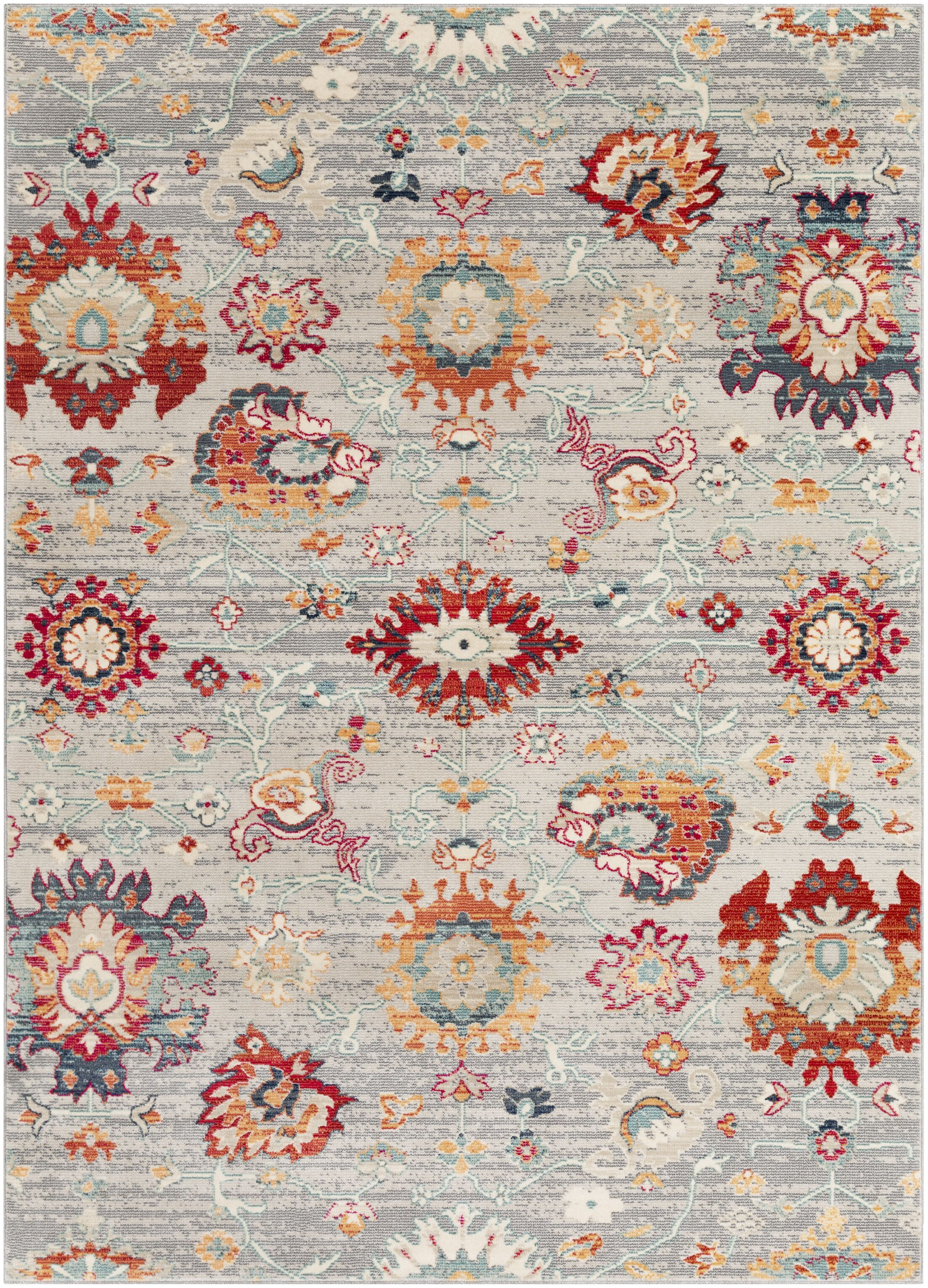 Raminez Distressed Floral Gray/Teal Rug Rug Size: Rectangle 9' x 13'1