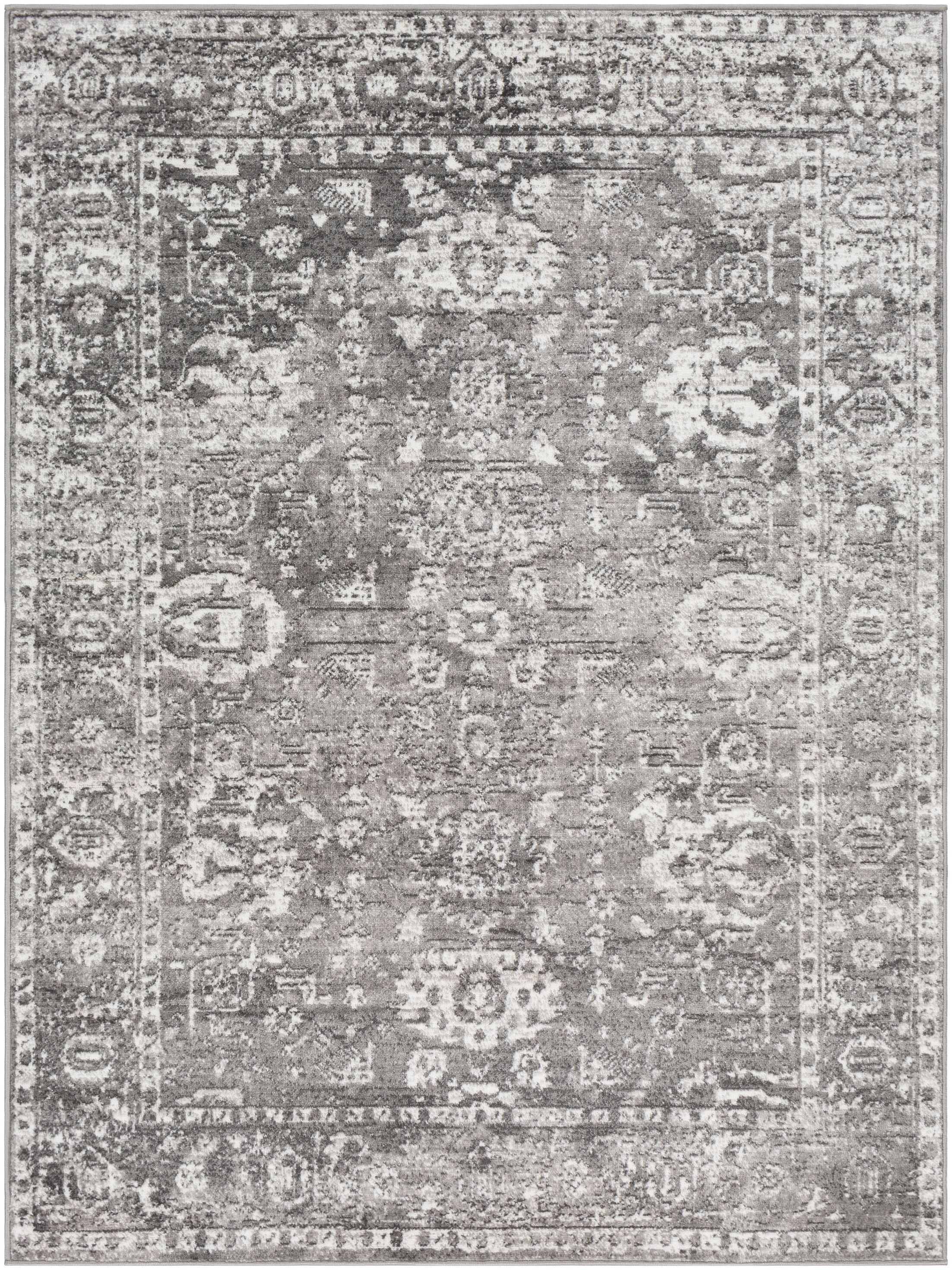 Ranck Distressed Vintage Light Gray/Gray Area Rug Rug Size: Rectangle 5'3