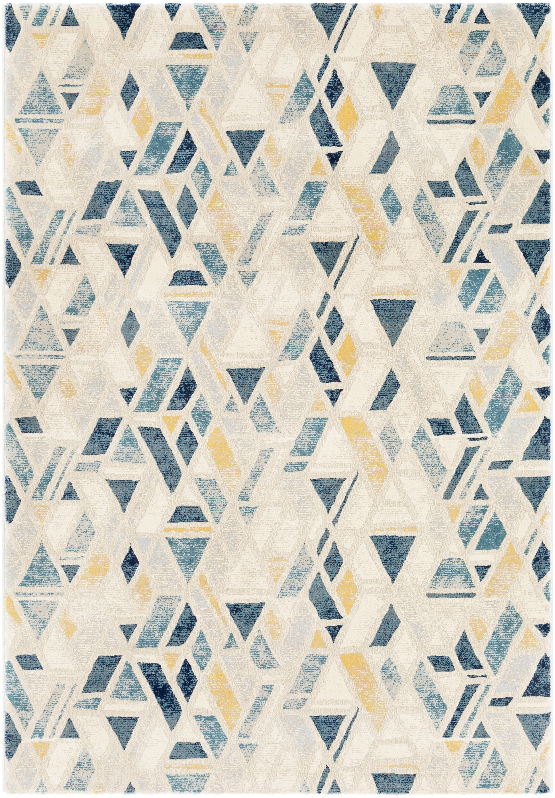 Oakdene Distressed Geometric Cyan/Yellow Area Rug Rug Size: Rectangle 7'10