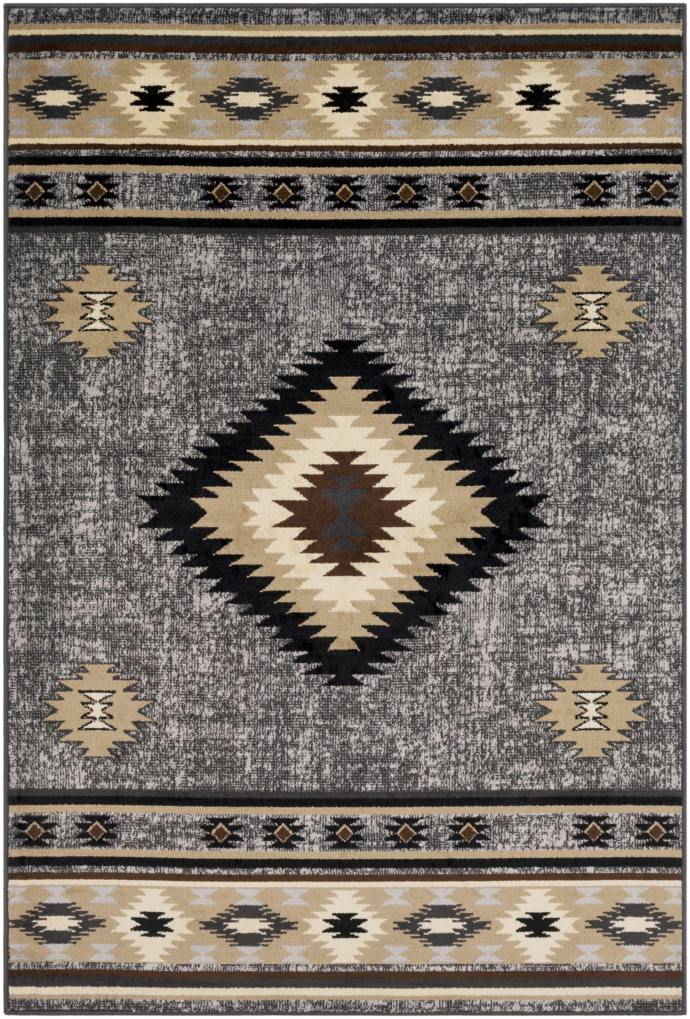 Thornton Black/Tan Area Rug Rug Size: Rectangle 6'7