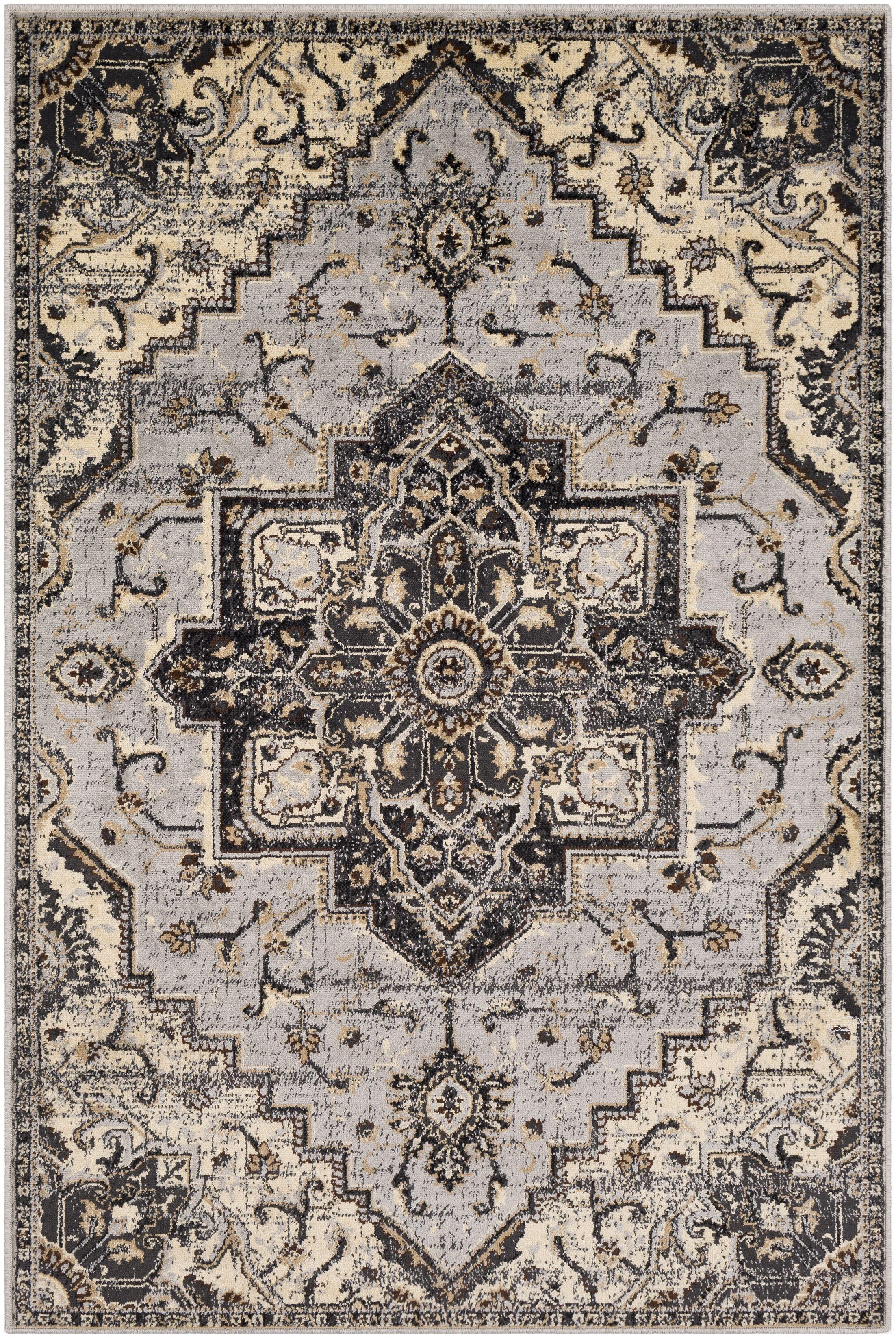 Gerena Vintage Floral Light Gray/Charcoal Area Rug Rug Size: Rectangle 7'9
