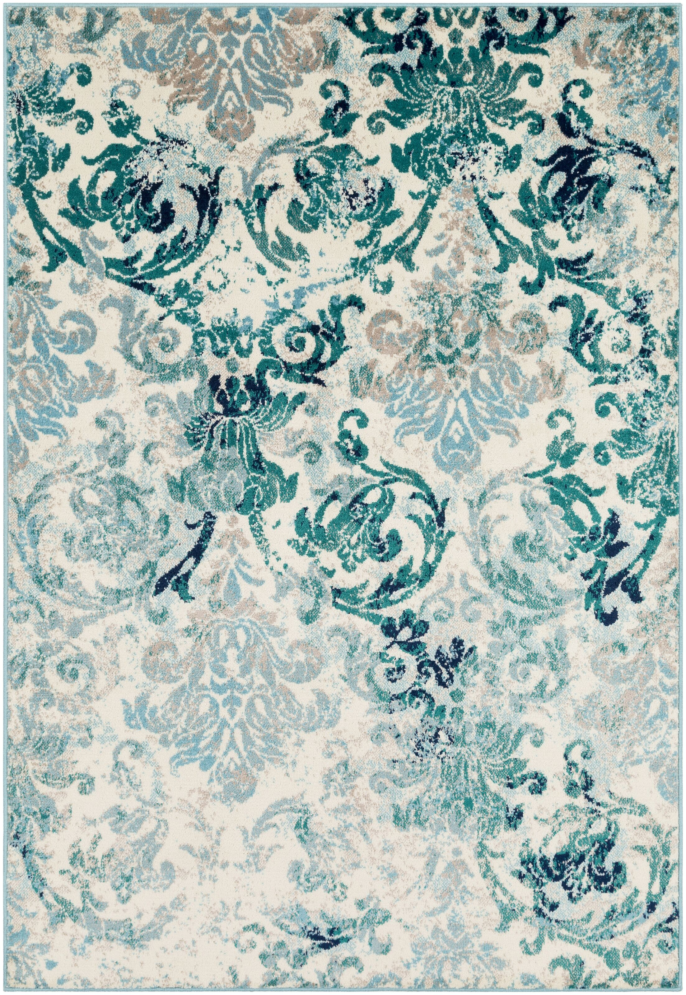 Ramsay Distressed Floral Teal/Light Blue Area Rug Rug Size: Rectangle 7'9