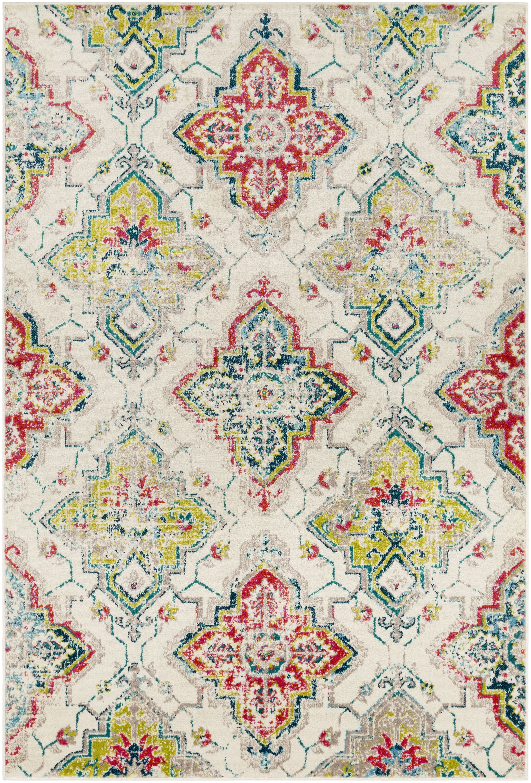 Ramsay Beige/Red Area Rug Rug Size: Rectangle 7'9