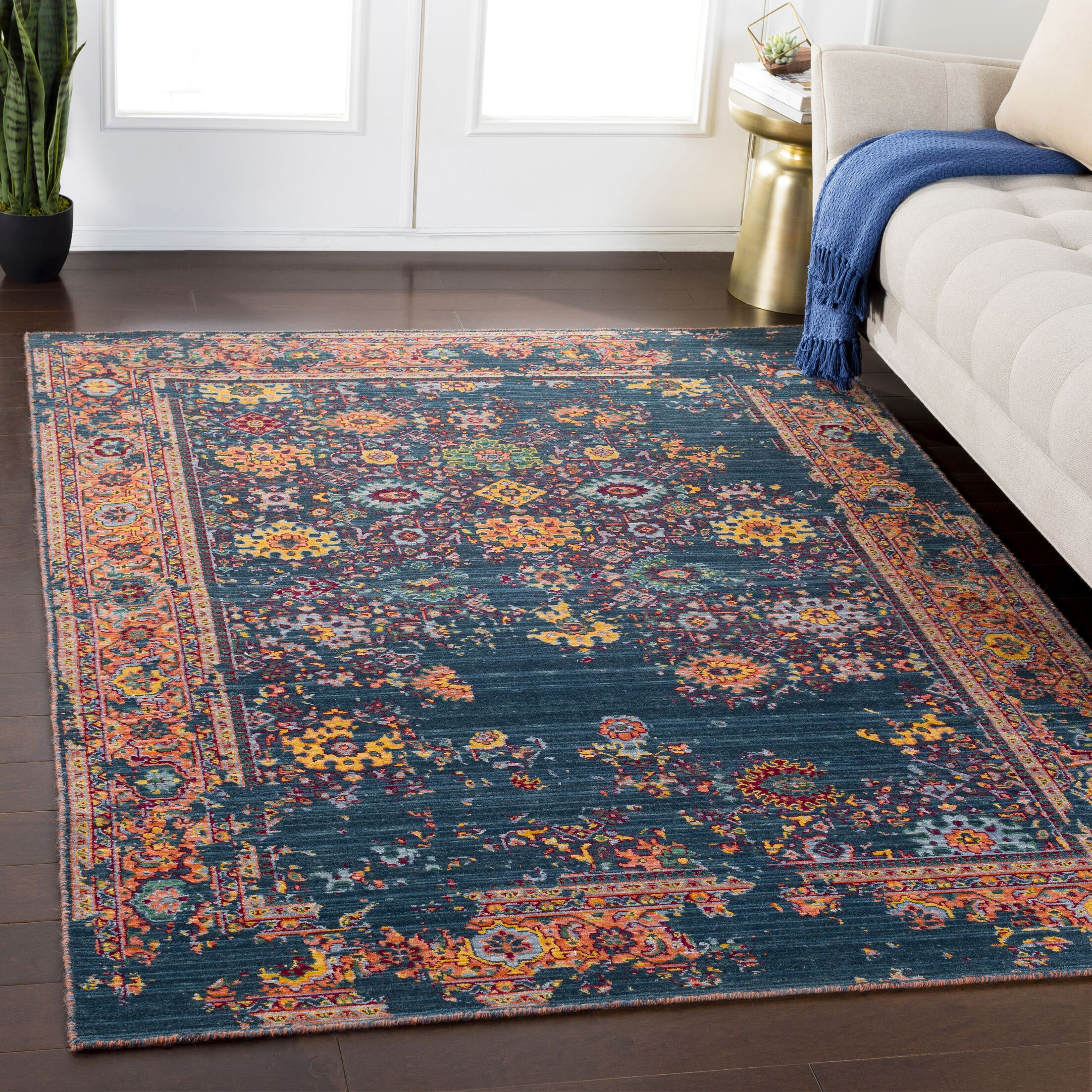 Rand Overdyed Vintage Navy/Peach Area Rug Rug Size: Rectangle 5'3