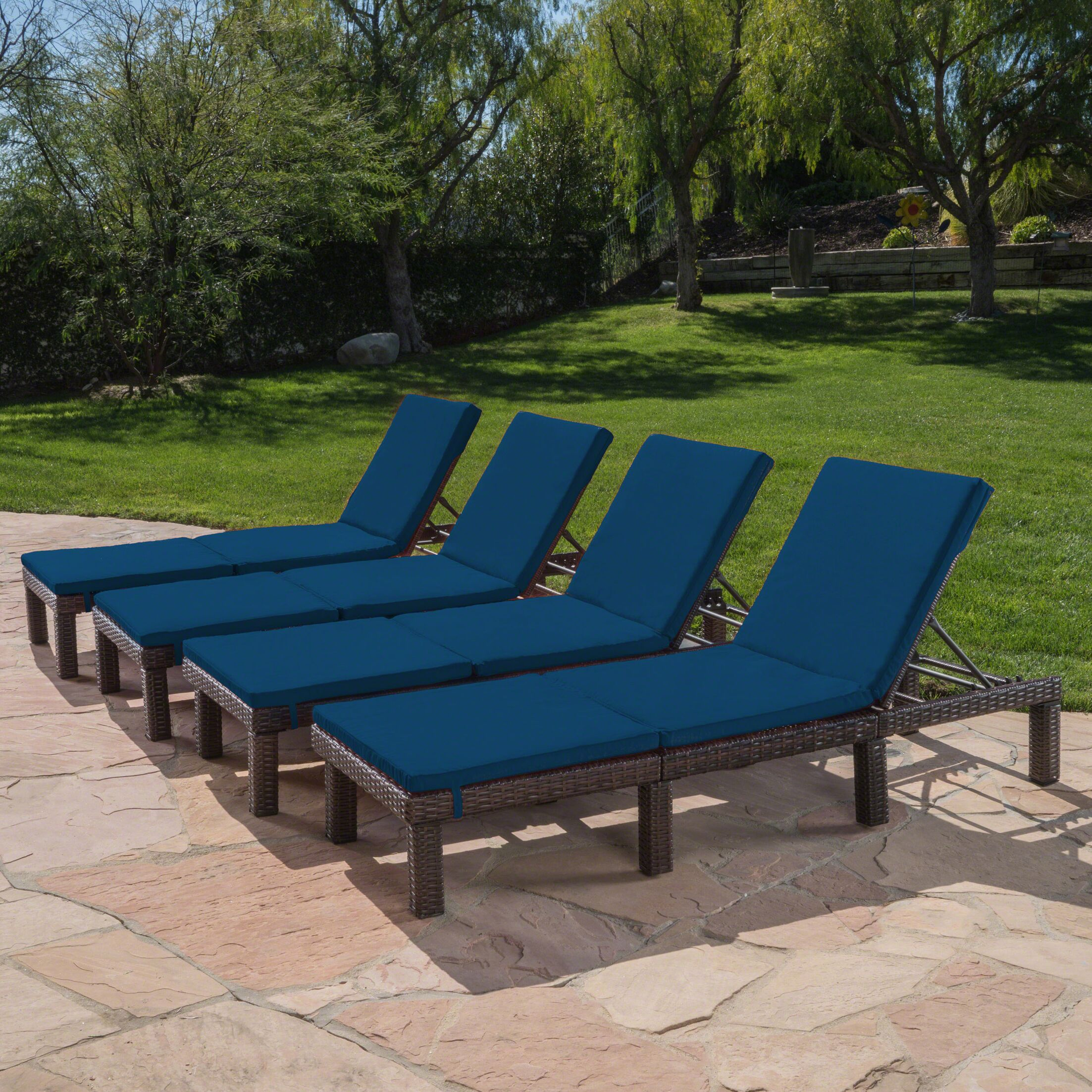 Caston Reclining Chaise Lounge with Cushion Color: Blue
