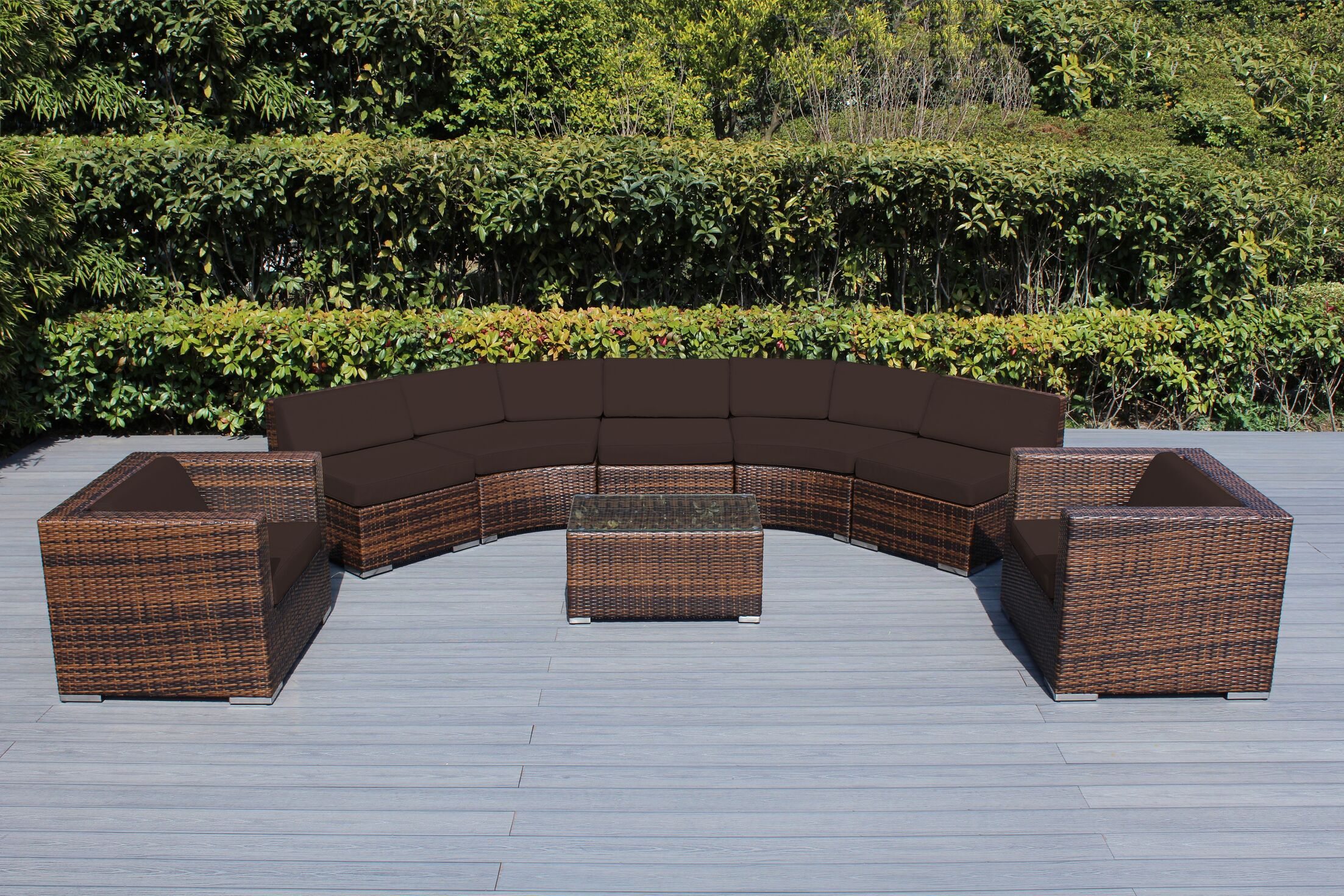 Baril Curved 8 Piece Sectional Set with Cushions Cushion Color: Brown