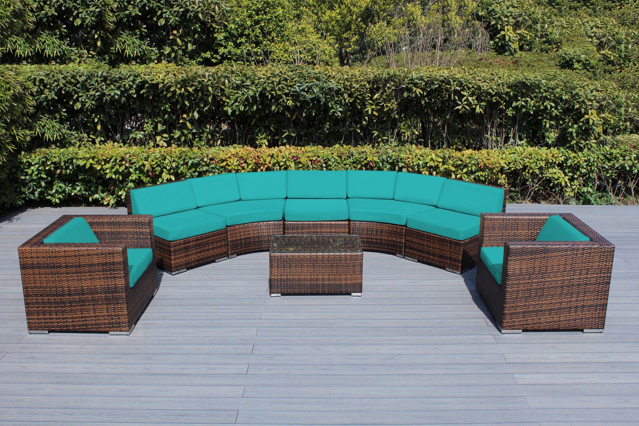 Baril Curved 8 Piece Sunbrella Sectional Set with Cushions Cushion Color: Aruba