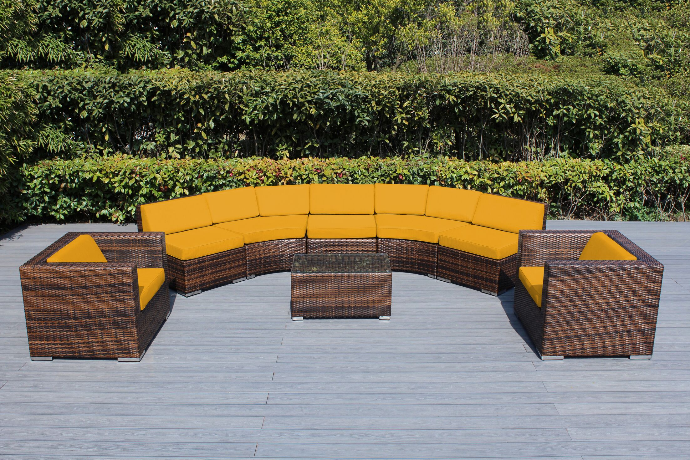 Baril Curved 8 Piece Sunbrella Sectional Set with Cushions Cushion Color: Sunflower Yellow