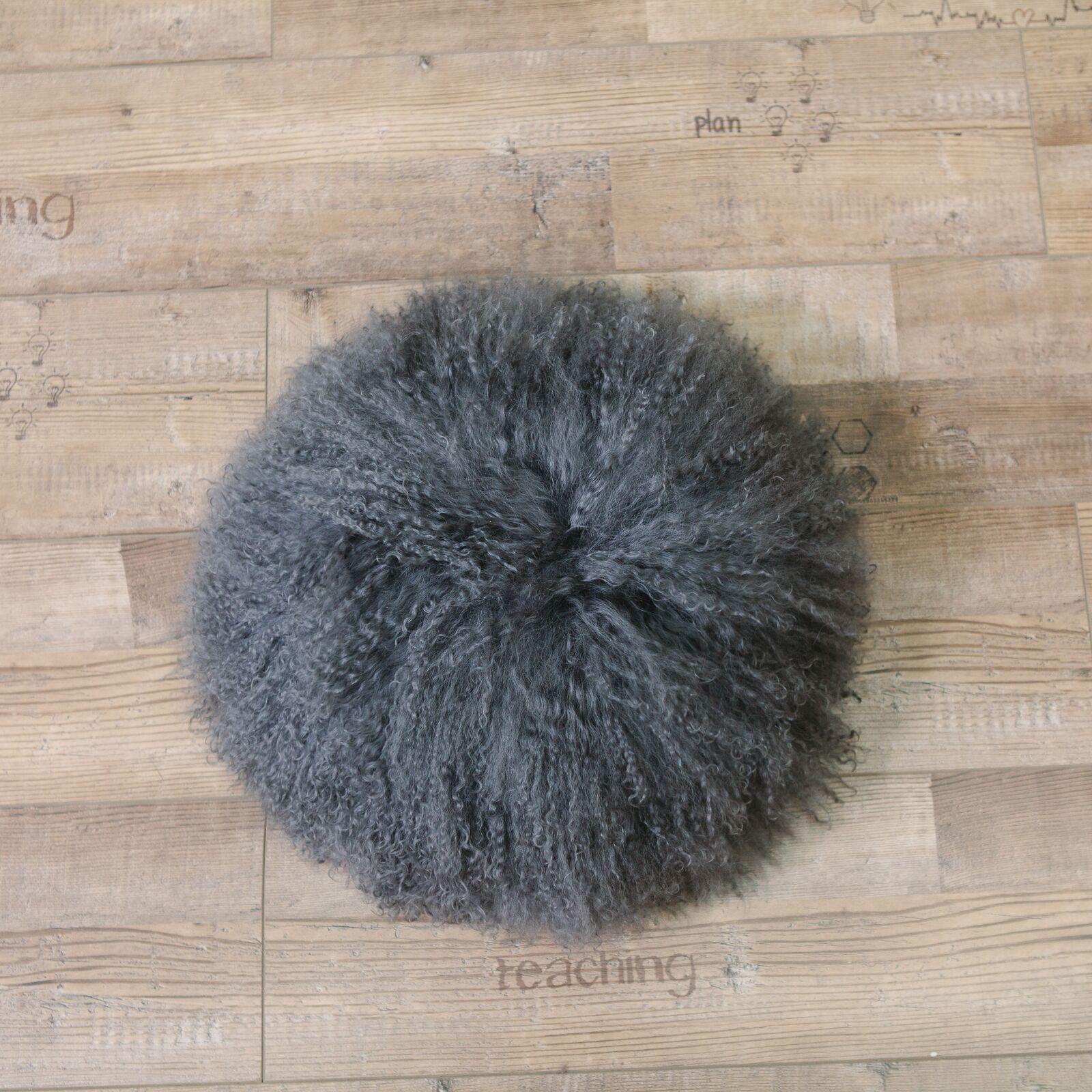 Mullin Lamb Fur Circular Throw Pillow Color: Gray