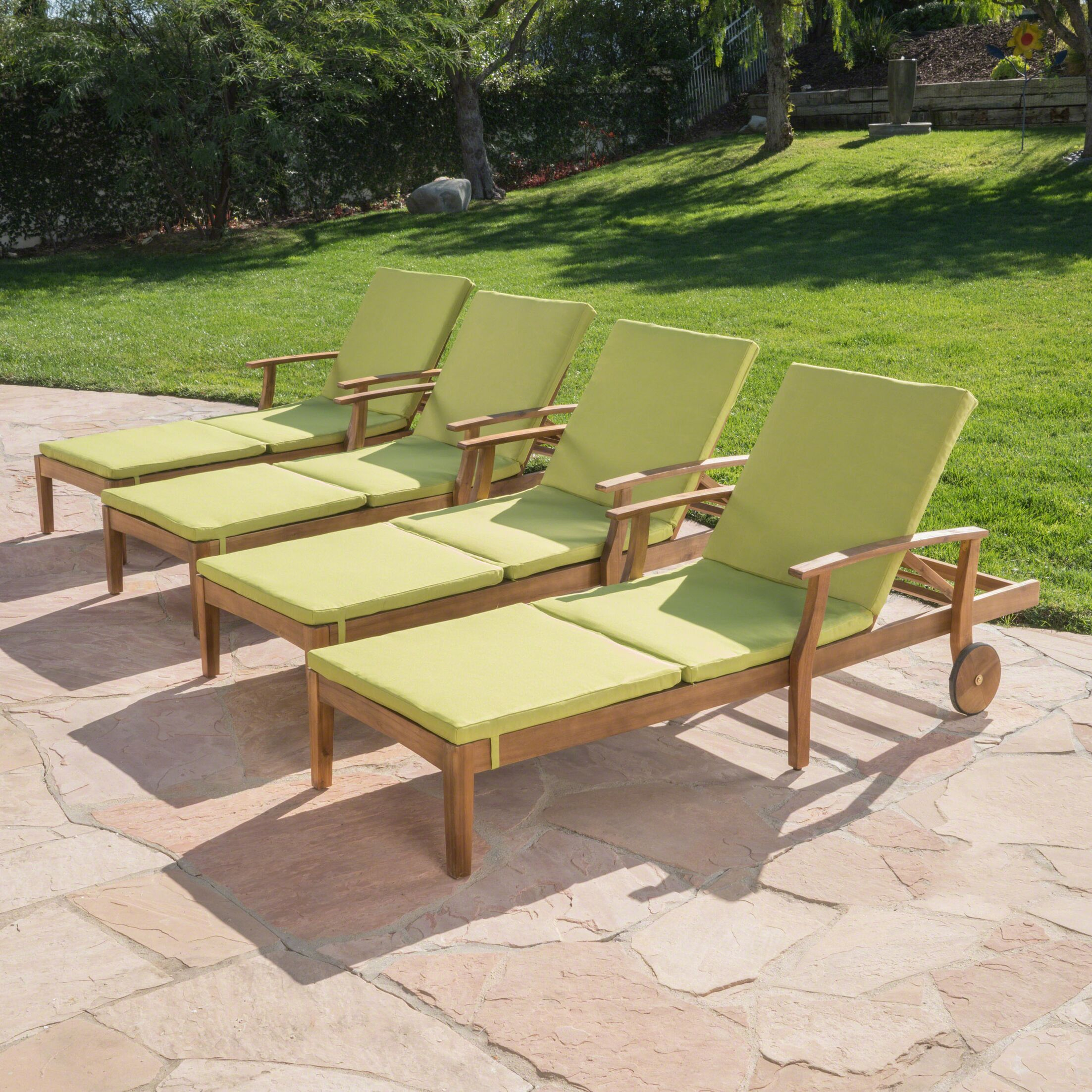 Balduin Reclining Chaise Lounge with Cushion Color: Teak/Green