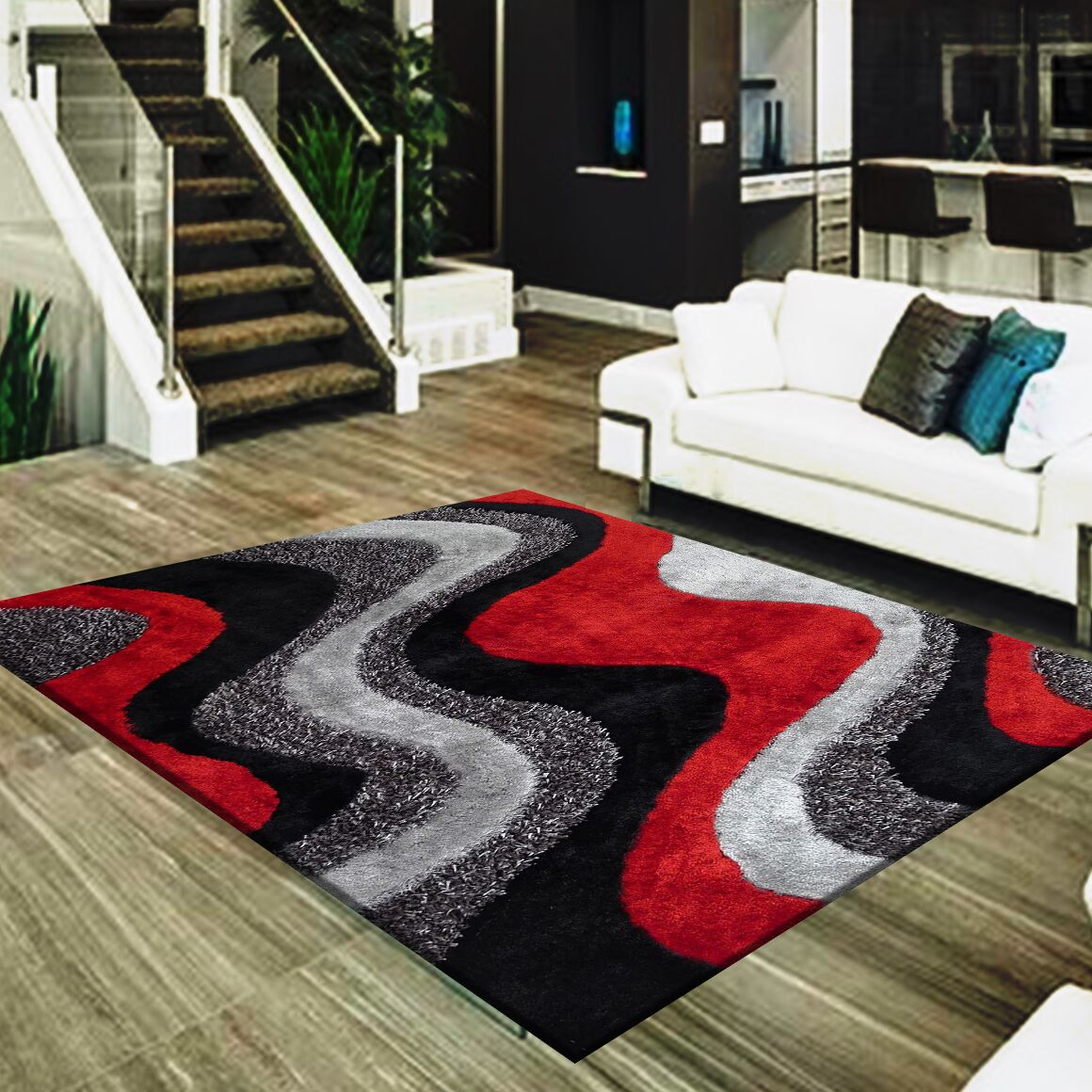Straley Hand-Woven Black/Red Area Rug