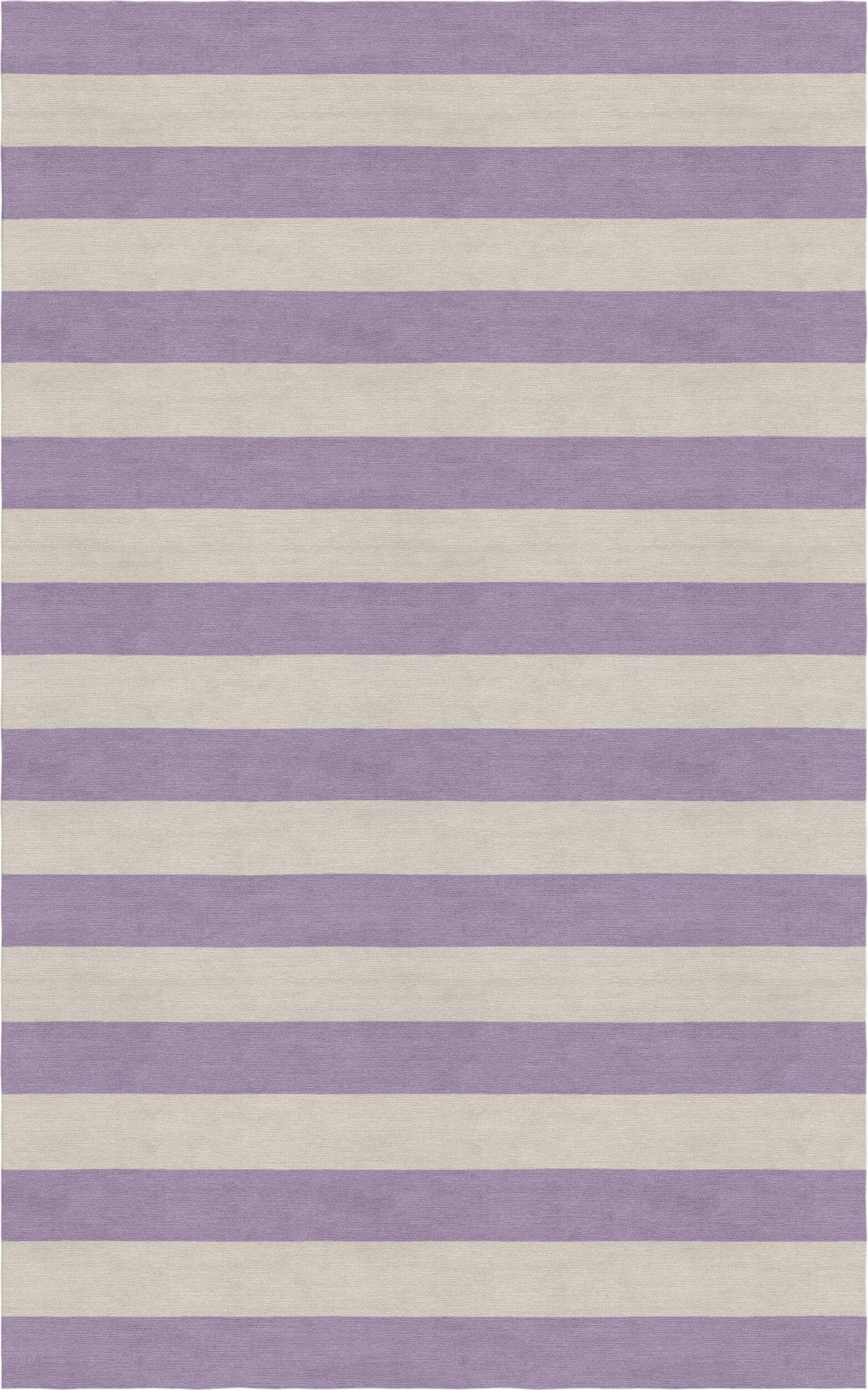 Mellott Stripe Hand-Woven Wool Silver/Violet Area Rug Rug Size: Rectangle 6' x 9'