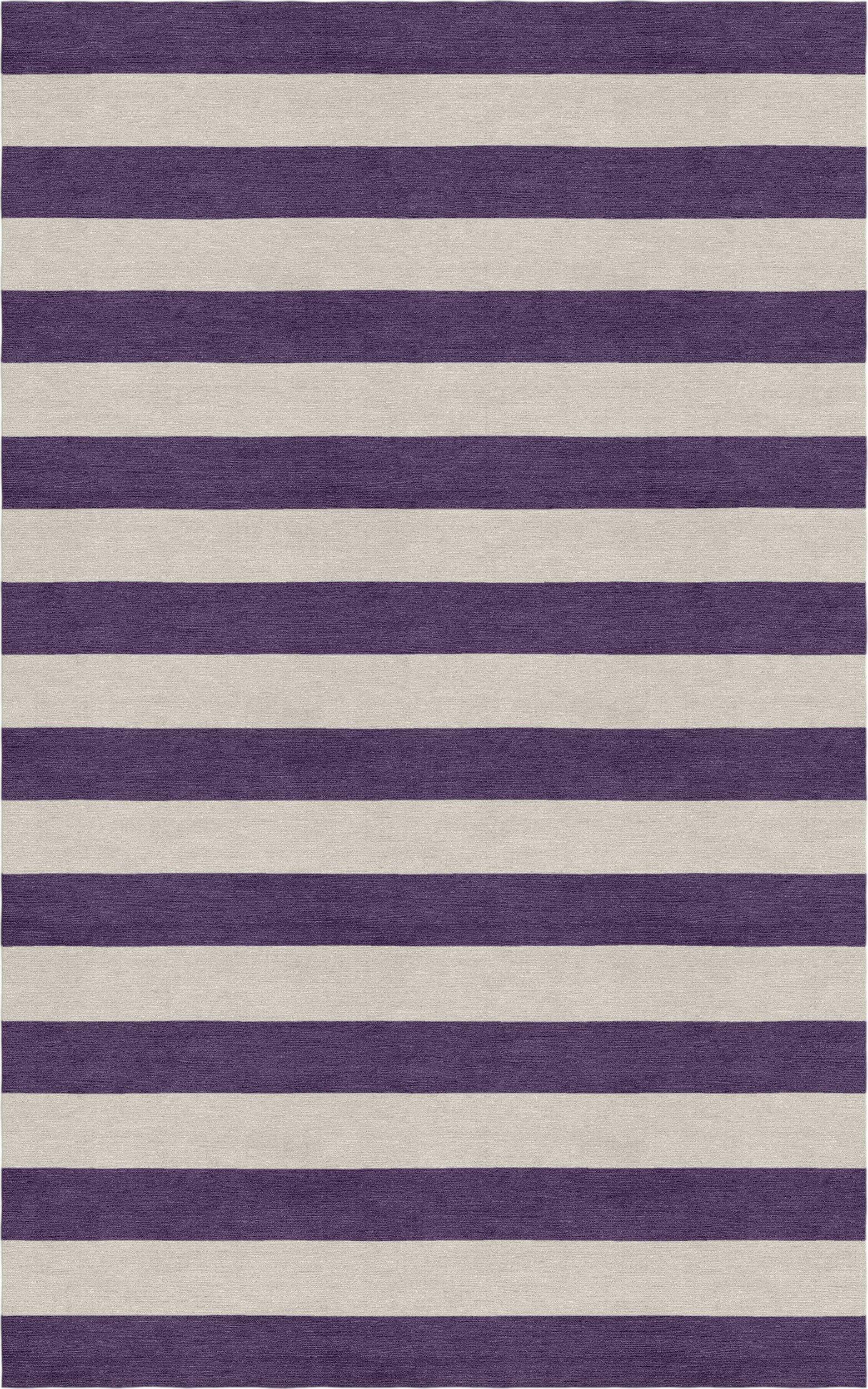 Mellott Stripe Hand-Woven Wool Silver/Dark Violet Area Rug Rug Size: Rectangle 9' x 12'