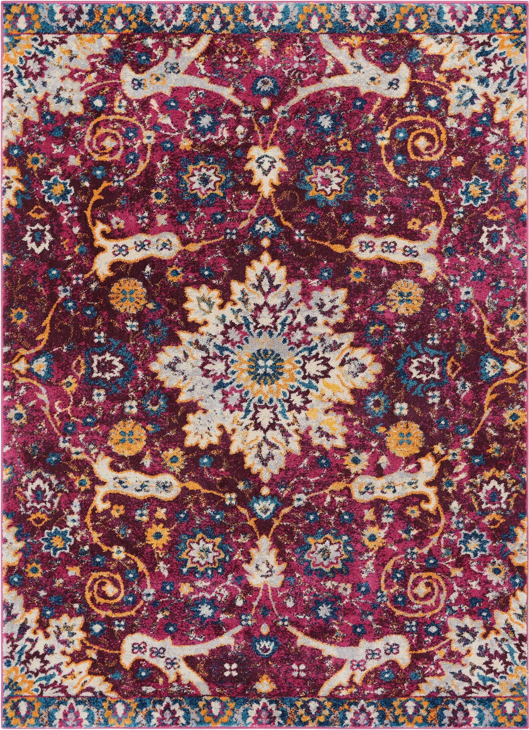 Binstead Wonderly Modern Persian Oriental Floral Lavendar Area Rug Rug Size: Rectangle 5'3