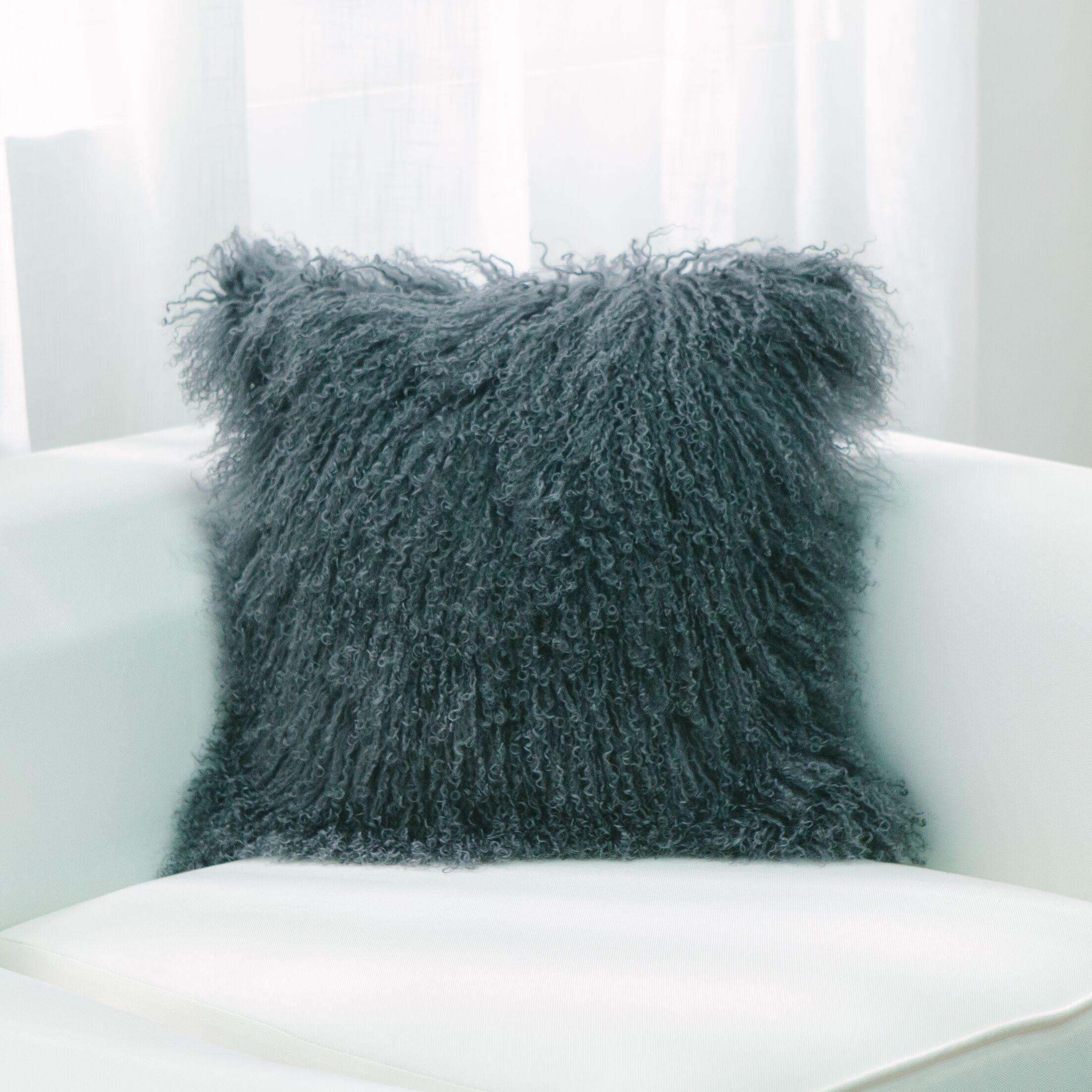 Mullin Lamb Fur Square Throw Pillow Color: Gray