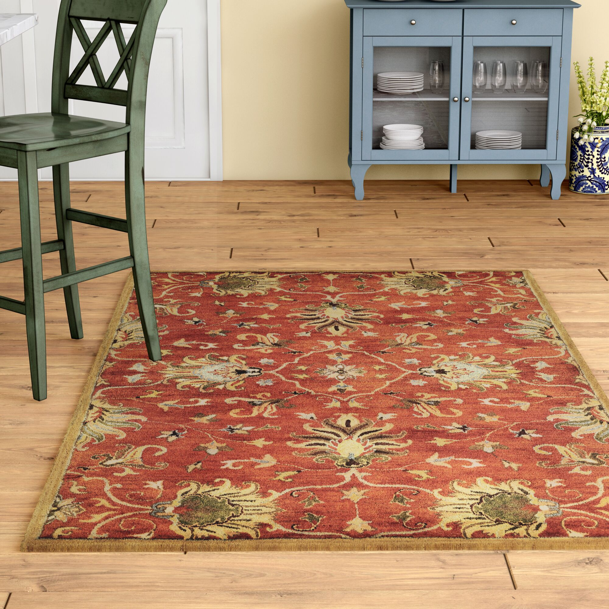 Statler Sienna Agra Hand-Woven Wool Area Rug Rug Size: Rectangle 3'3