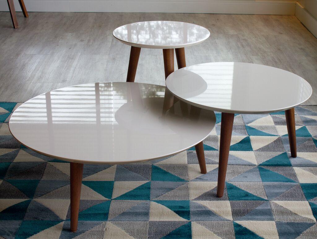 Enrique 3 Piece Coffee Table Set Color: Off White