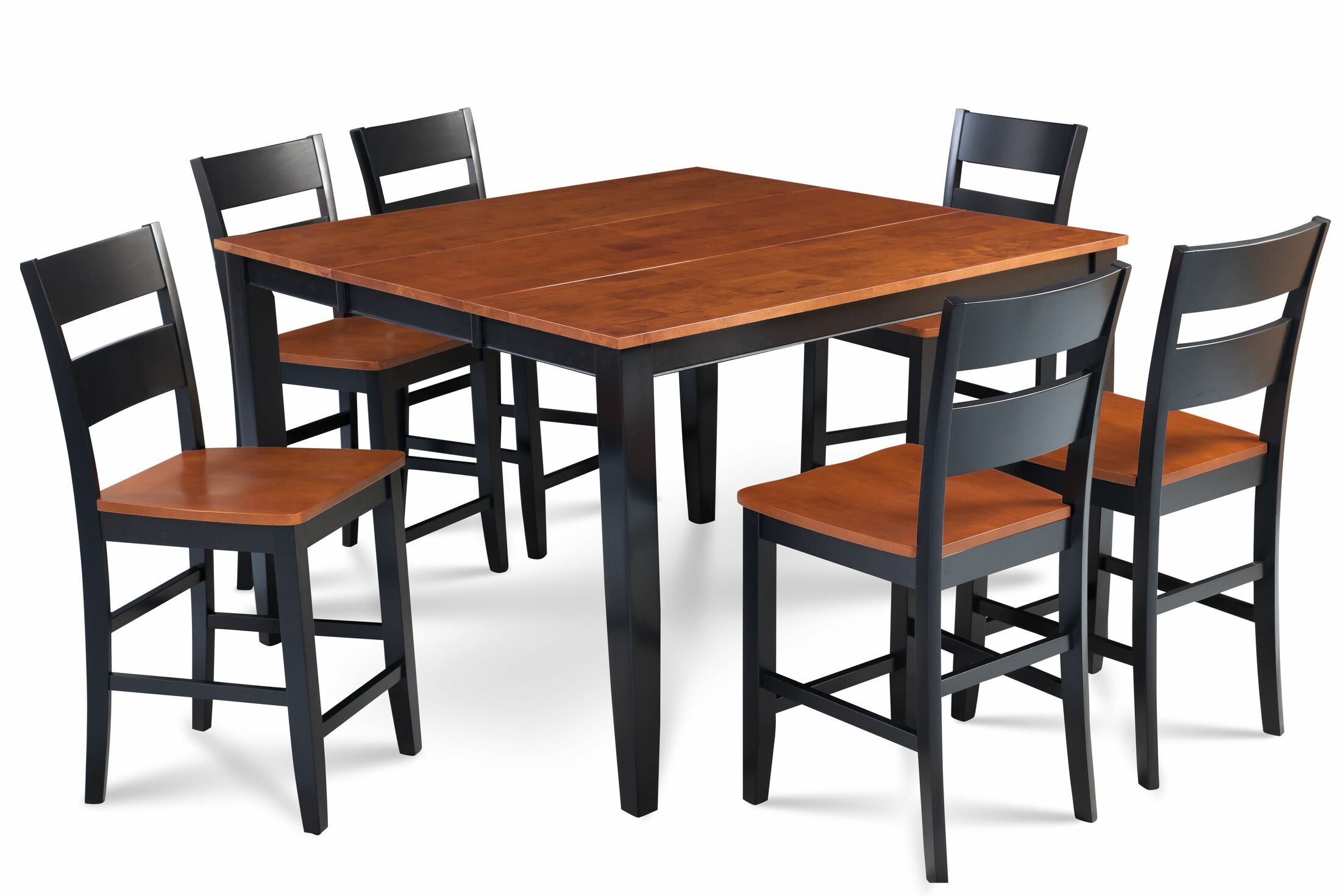 Bennet Solid Wood 7 Piece Counter Height Extendable Solid Wood Dining Set Table Base Color: Black, Table Top Color: Brown