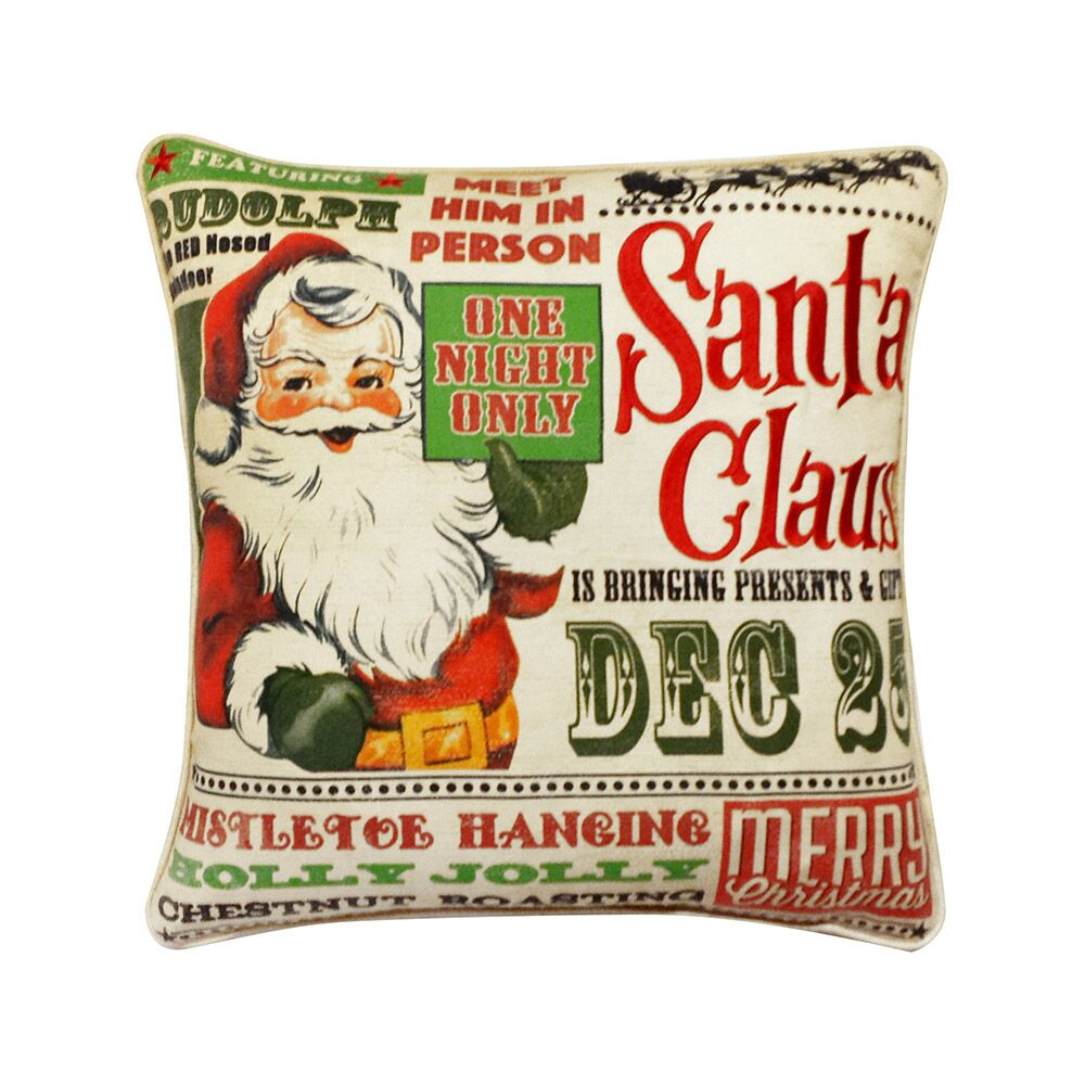 Frazer Santa Claus is Coming to Town Cotton Indoor/Outdoor Throw Pillow