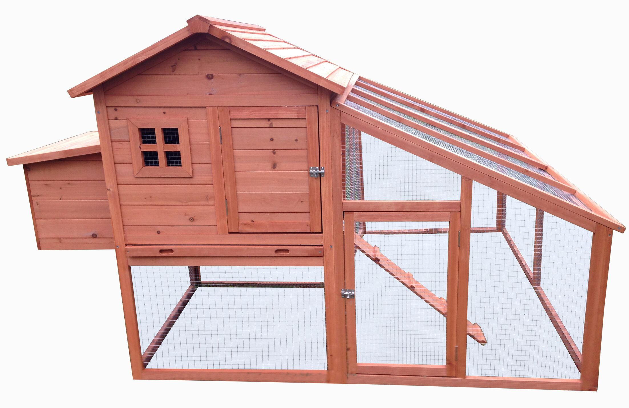 Fir Wood Hutch Chicken Coop with Roosting Bar