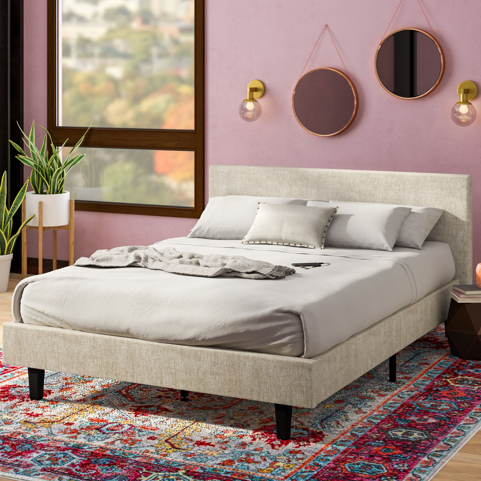 Tafolla Bed Frame Size: Twin, Color: Beige