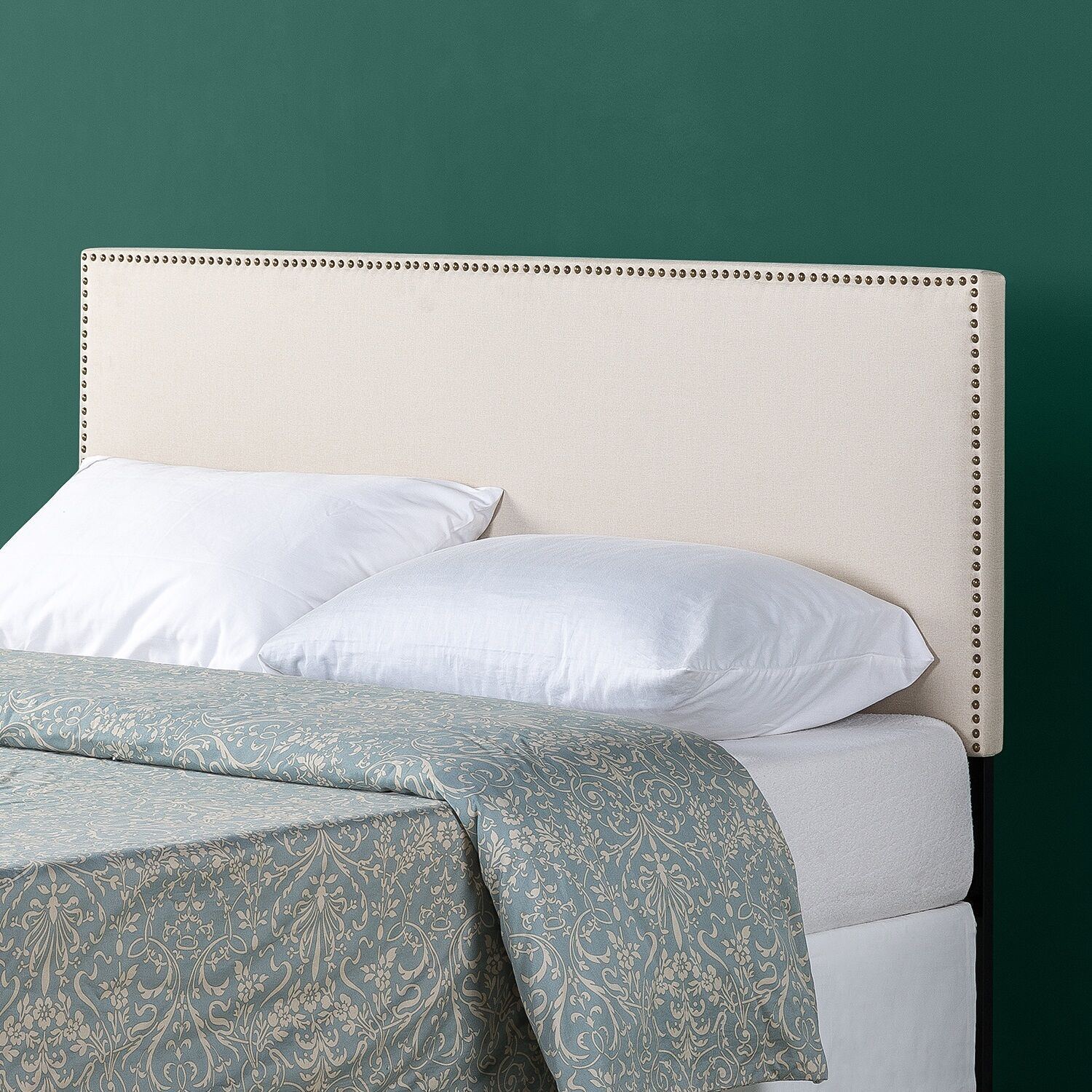 Agathe Nailhead Trim Upholstered Panel Headboard Size: Queen, Color: Taupe