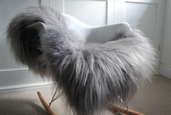 Nutting Pelt Hand-Woven Sheepskin Gray Area Rug