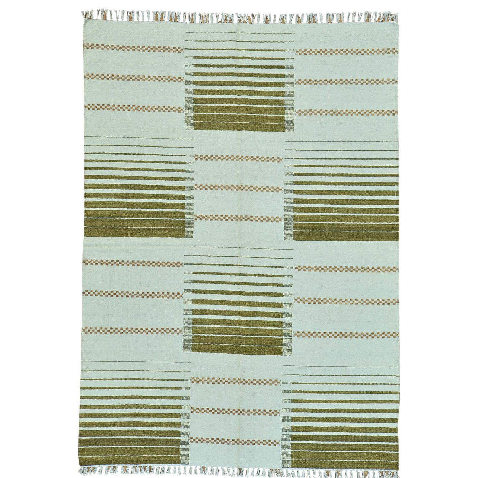 Durie Kilim Striped Flat Weave Oriental Hand-Knotted Ivory Area Rug
