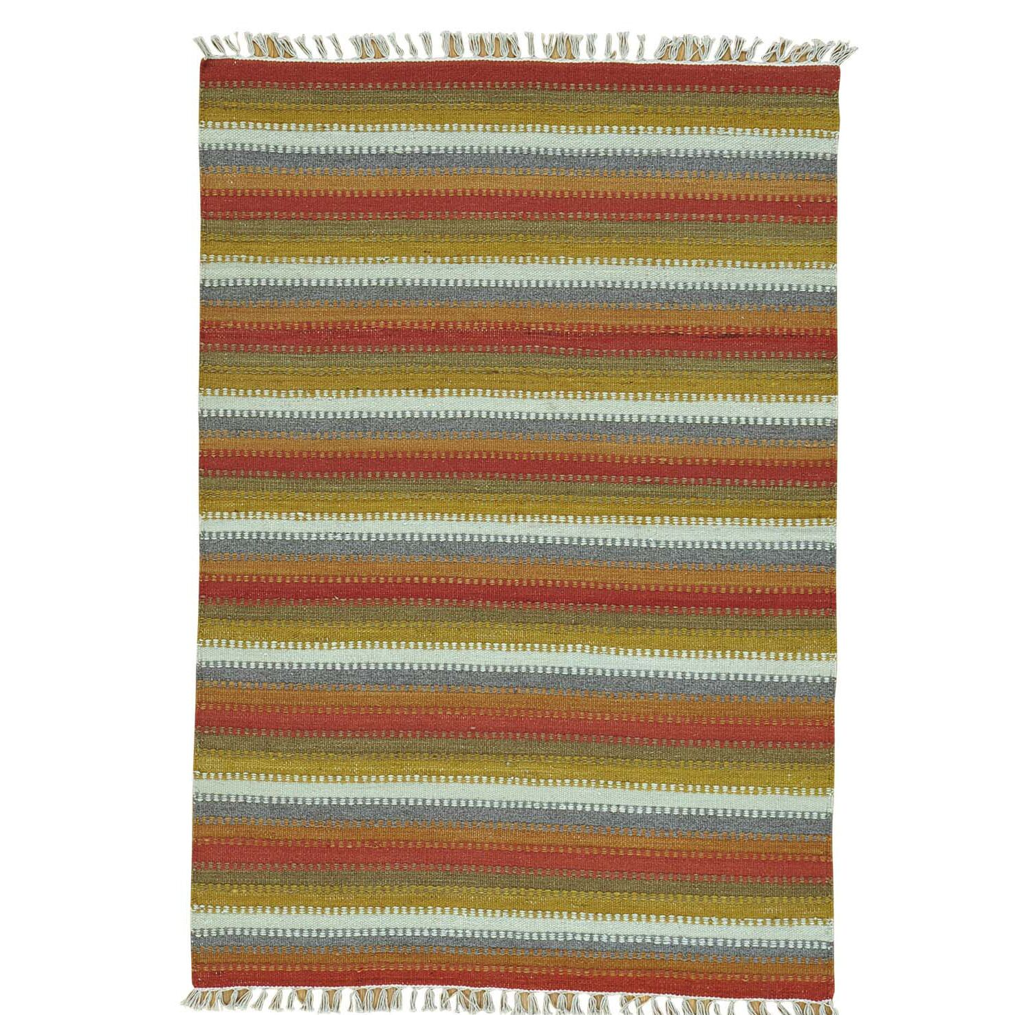 Striped Durie Kilim Flat Weave Oriental Hand-Knotted Red/Mustard Area Rug