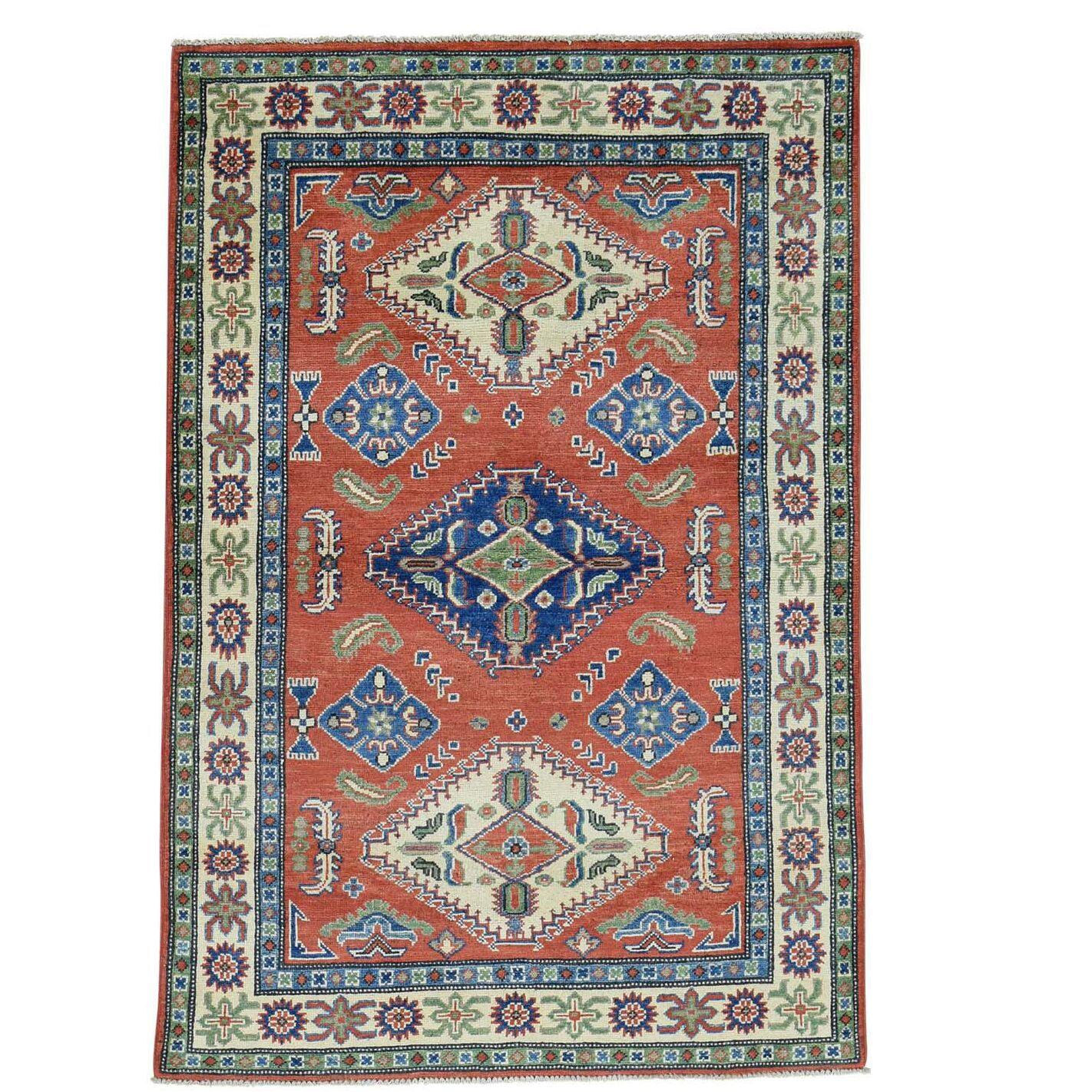 One-of-a-Kind Latimore Hand-Knotted Red/Blue/Ivory Area Rug