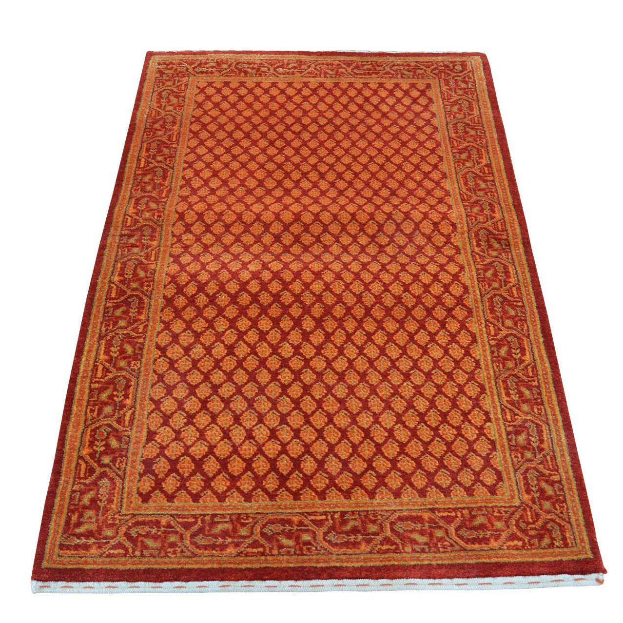 Sarouk Mir Overdyed Hand-Knotted Red Area Rug
