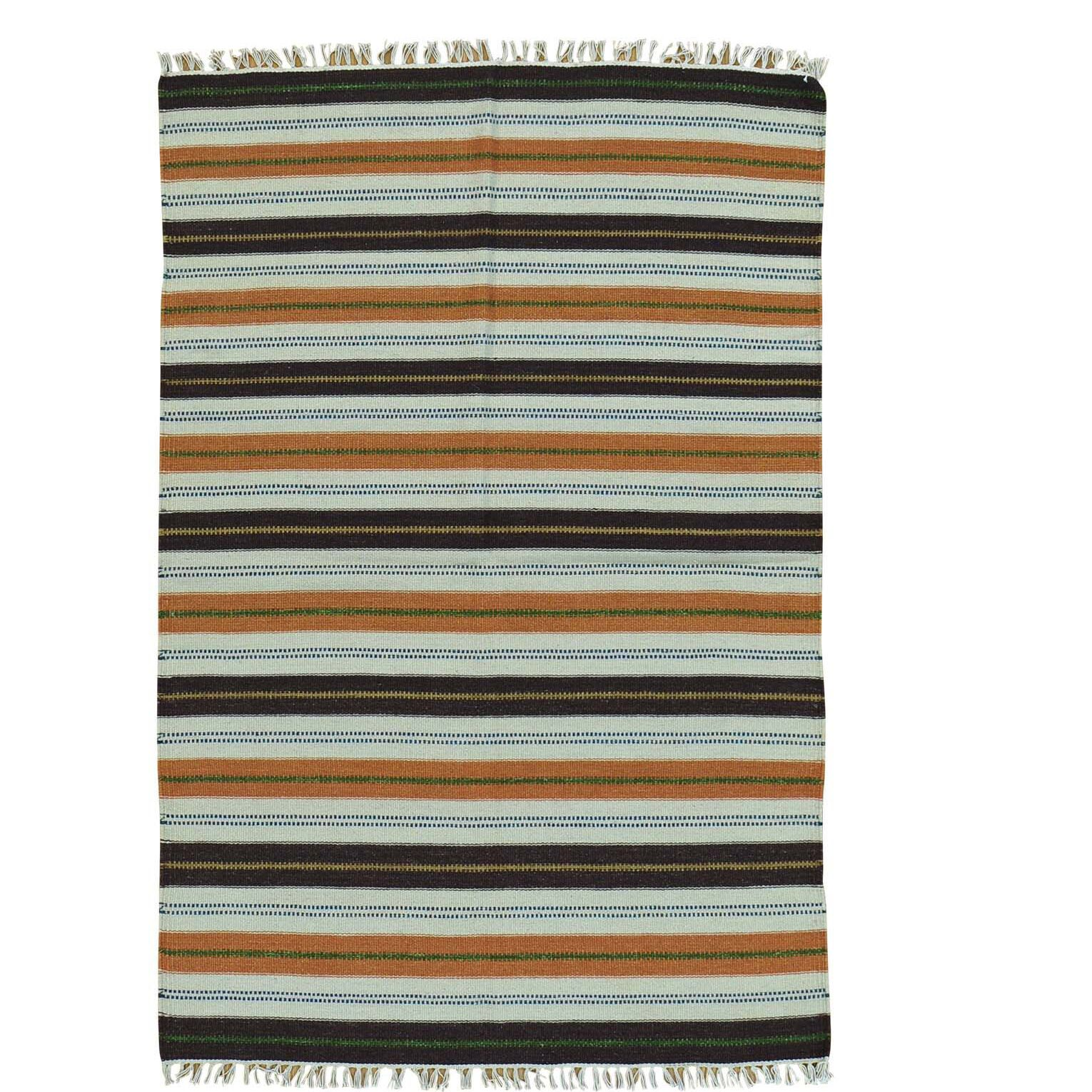 Flat Weave Durie Kilim Hand-Knotted Blue/Brown Area Rug