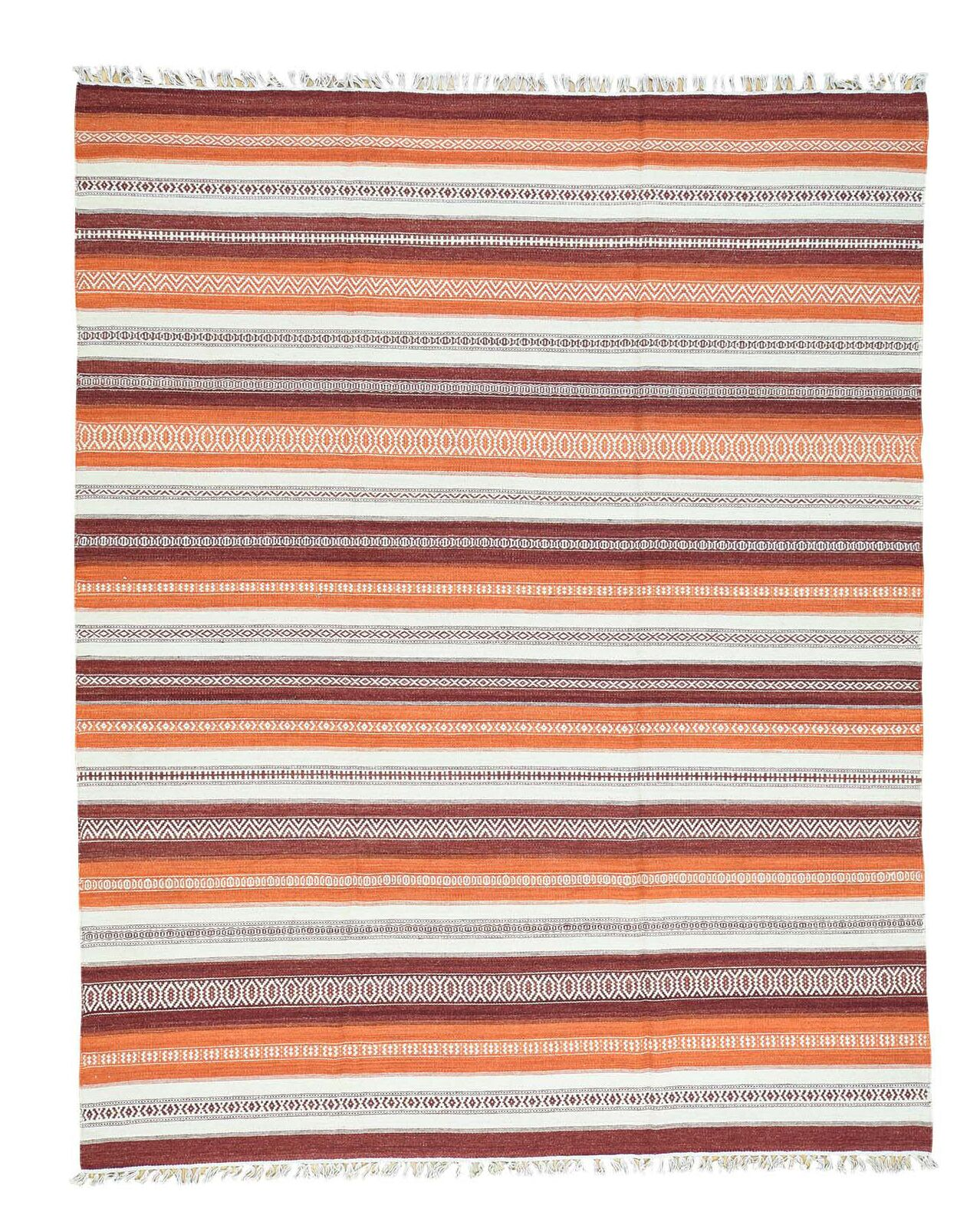 Striped Kilim Flat Weave Oriental Hand-Knotted Orange/White Area Rug