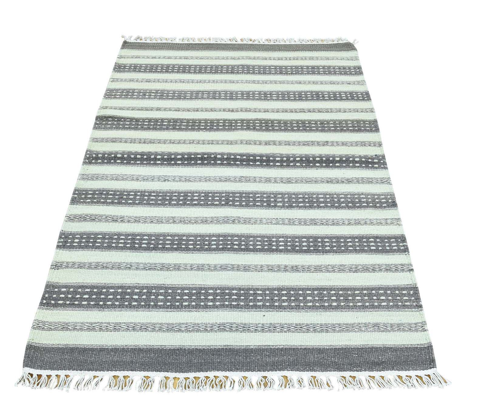 Striped Kilim Flat Weave Oriental Hand-Knotted Gray/White Area Rug
