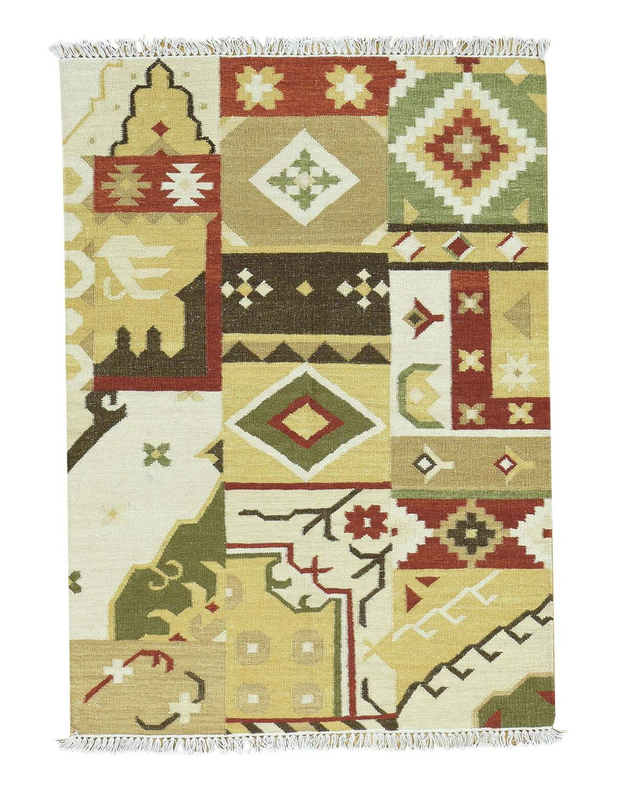Anatolian Kilim Flat Weave Hand-Knotted Beige/Green Area Rug