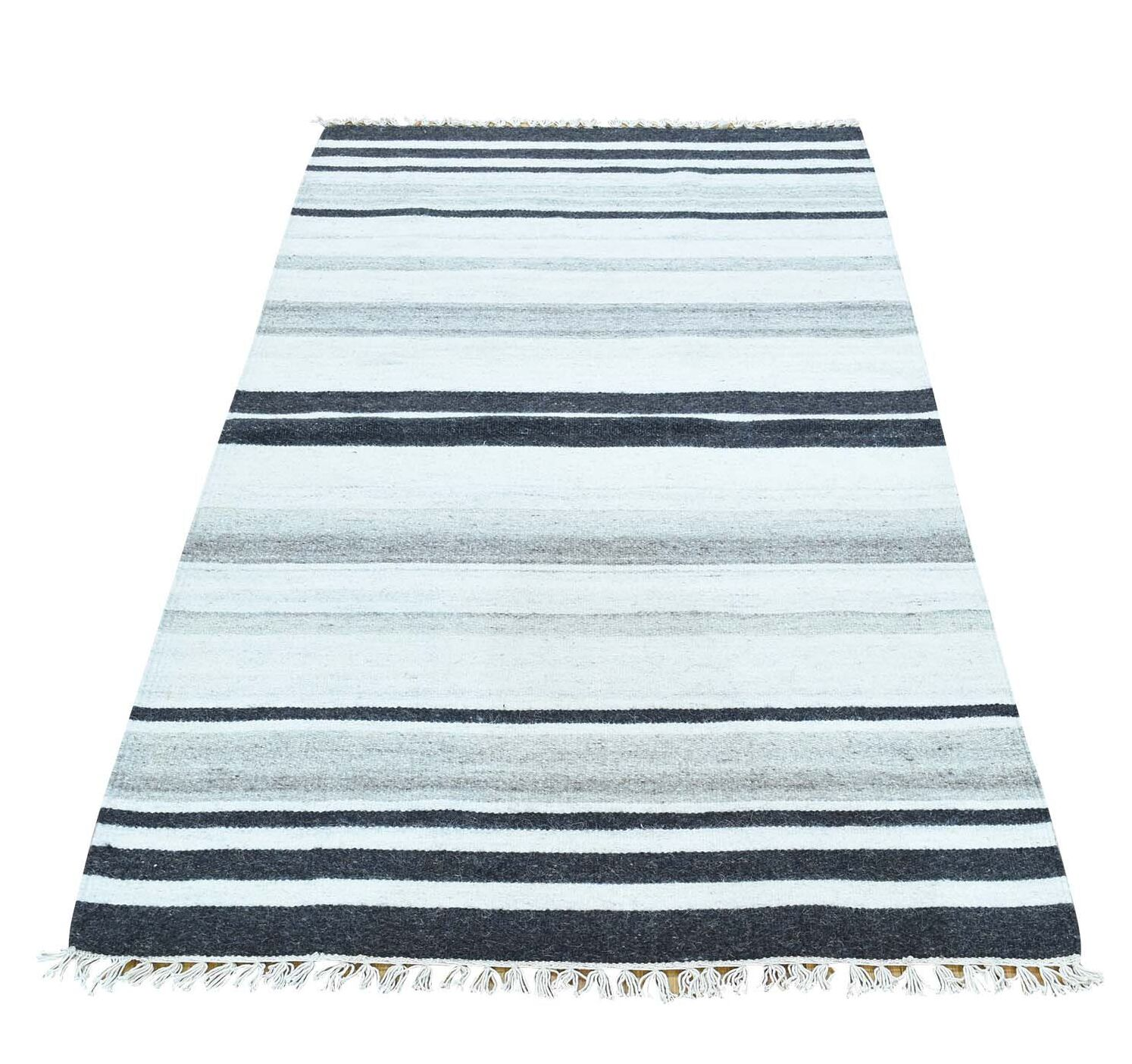 Flat Weave Striped Reversible Kilim Oriental Hand-Knotted Charcoal Black/Ivory Area Rug