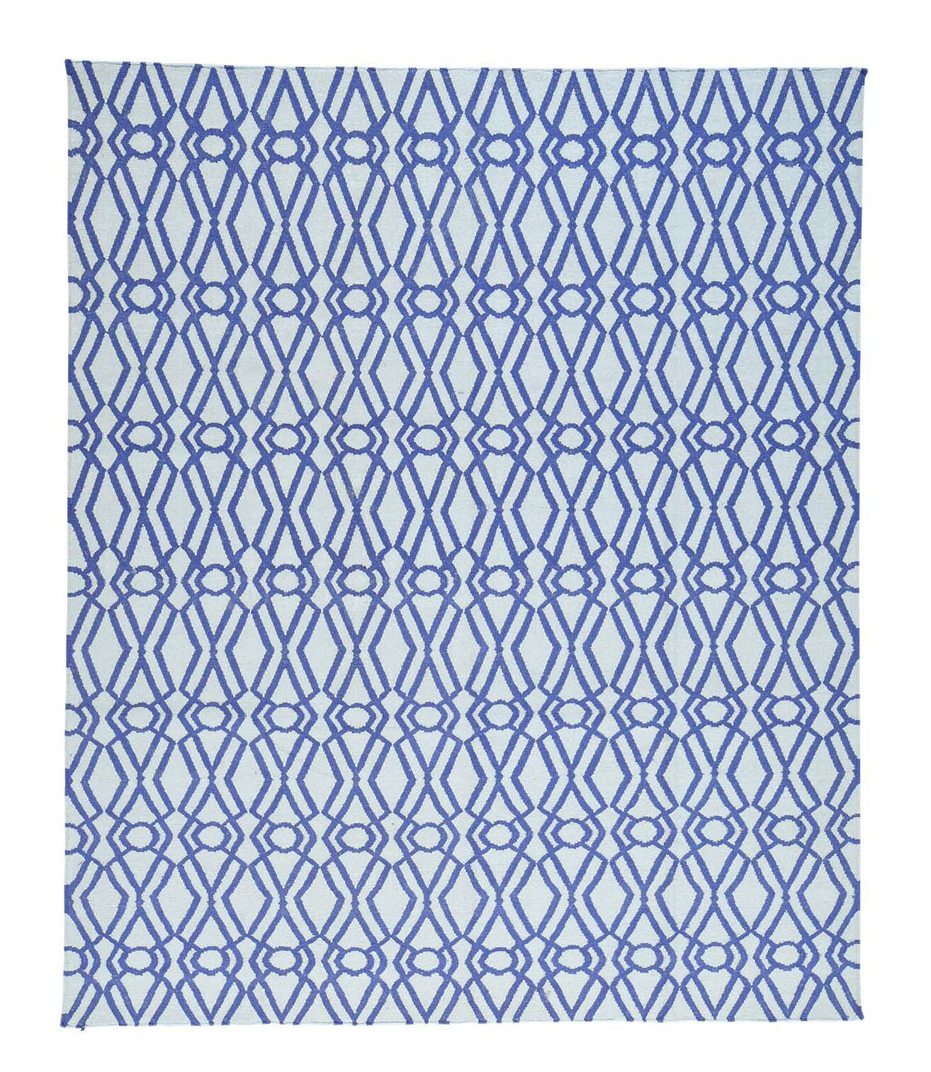 Reversible Kilim Flat Weave Oriental Hand-Knotted Ivory Area Rug