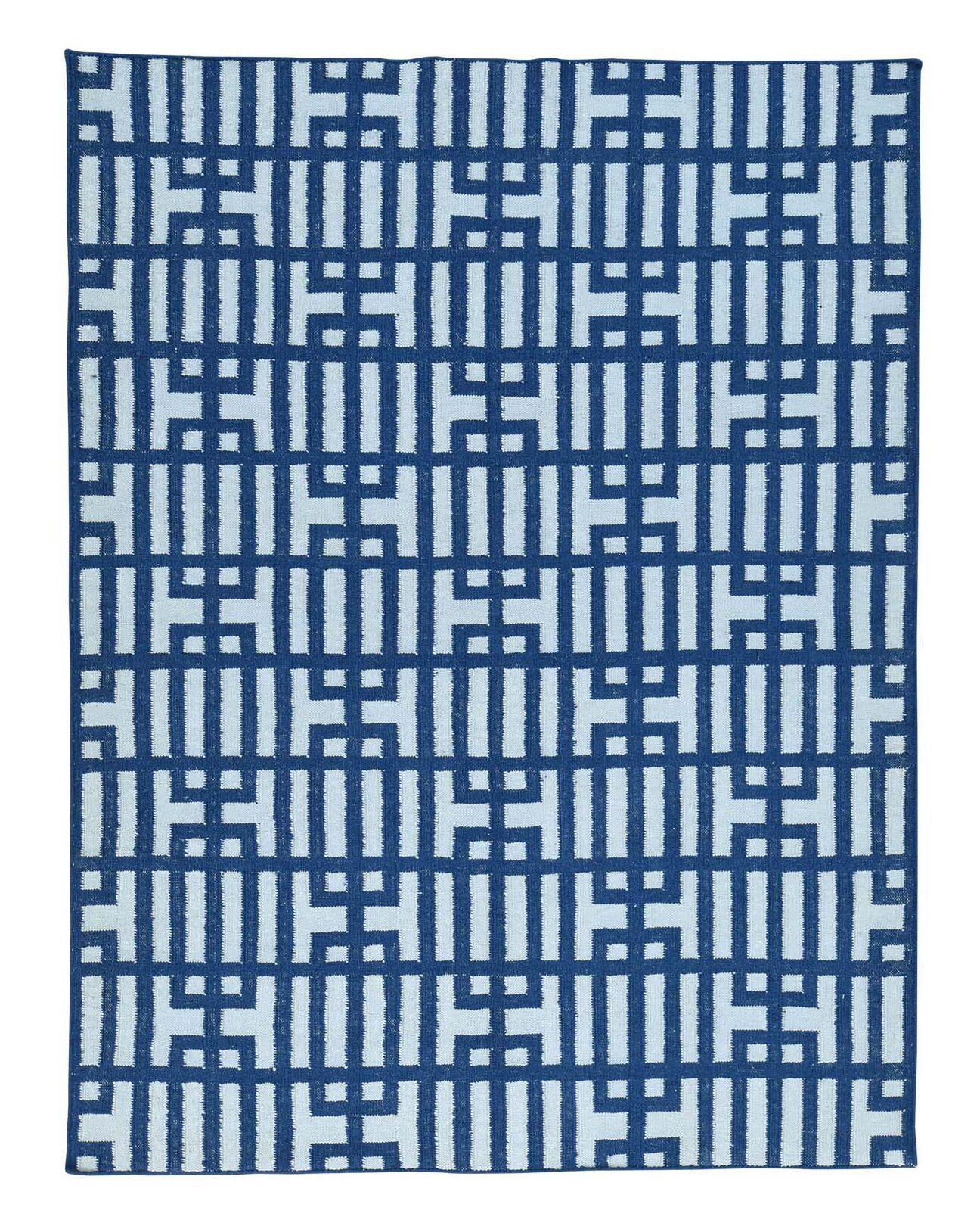Flat Weave Geometric Reversible Kilim Hand-Knotted Ivory Area Rug