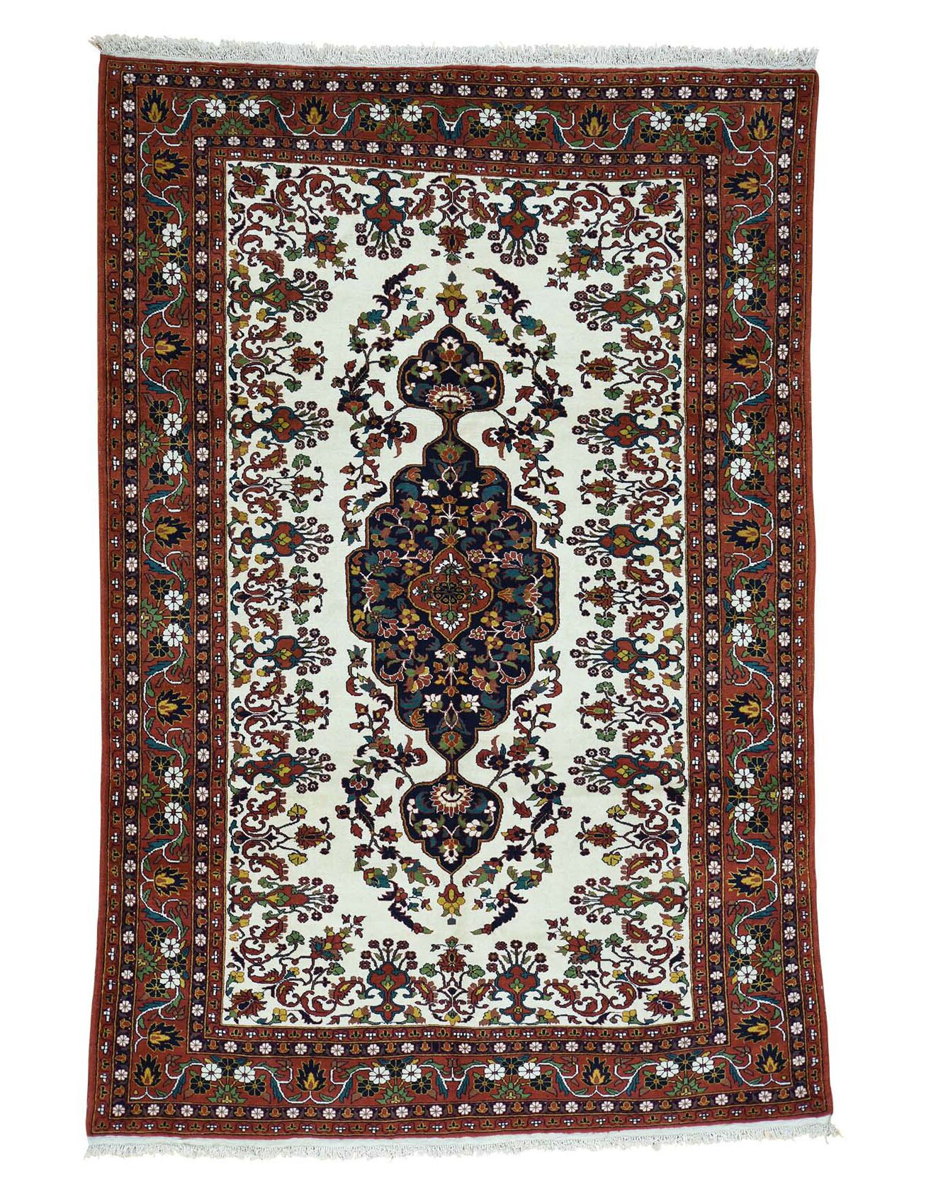 One-of-a-Kind Afghan Hand-Knotted Ivory/Red Area Rug