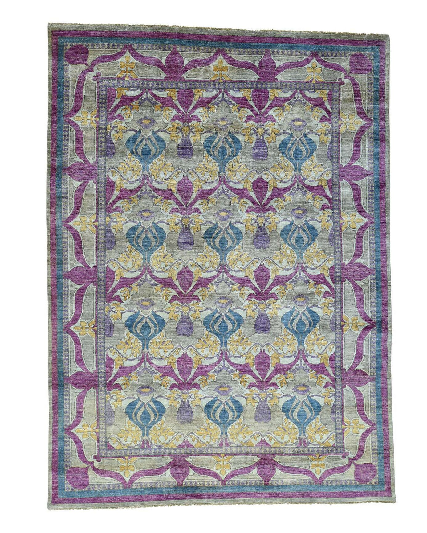 One-of-a-Kind Crafts William Morris Hand-Knotted Gray/Purple/Yellow Area Rug