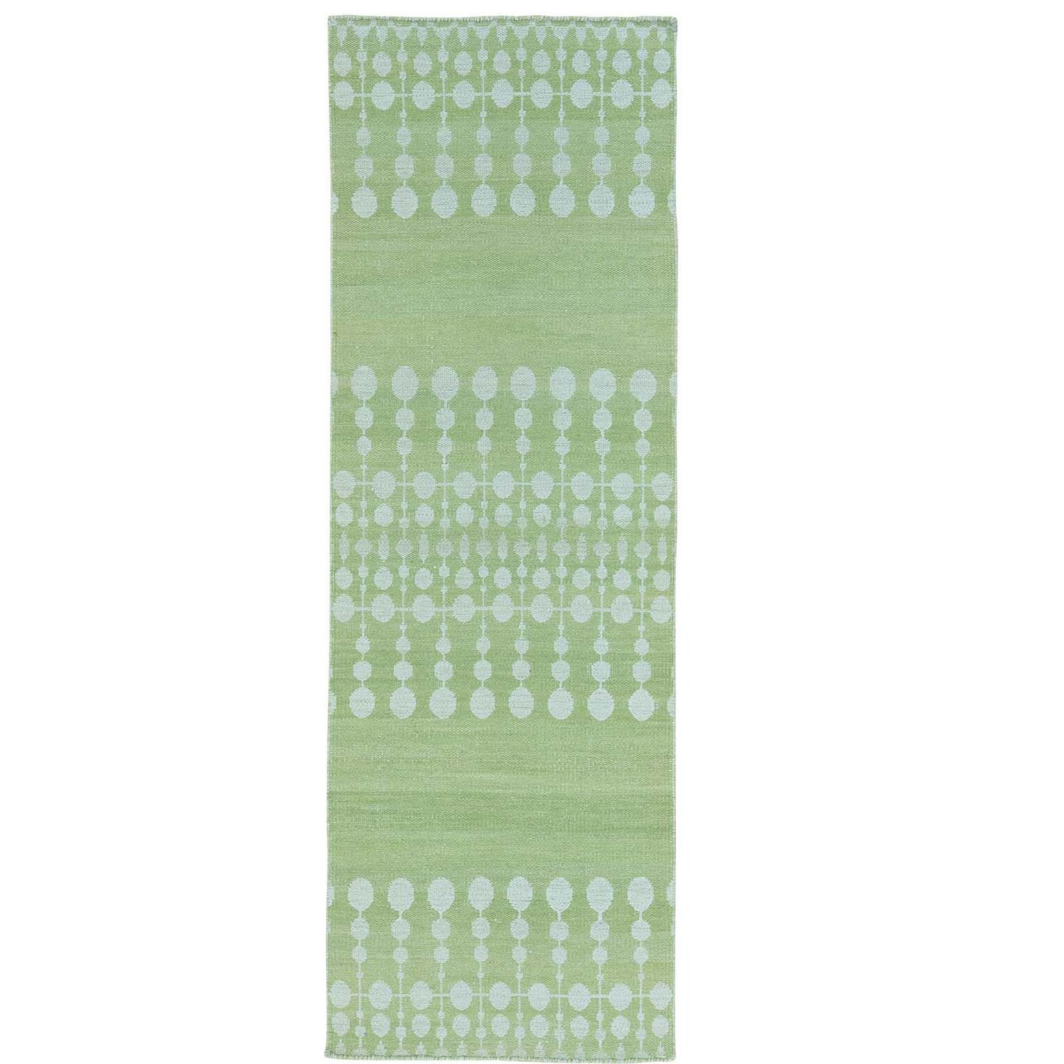 Flat Weave Reversible Kilim Hand-Knotted Light Green Area Rug