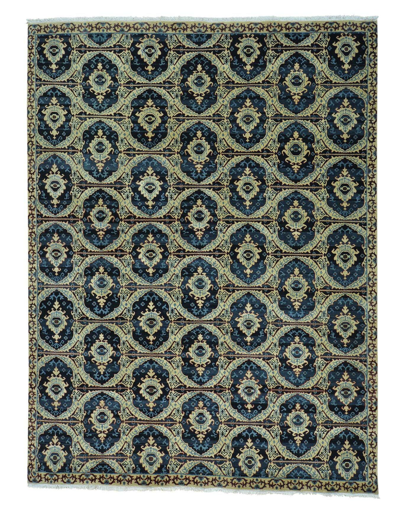 One-of-a-Kind Hand-Knotted Beige/Navy Area Rug