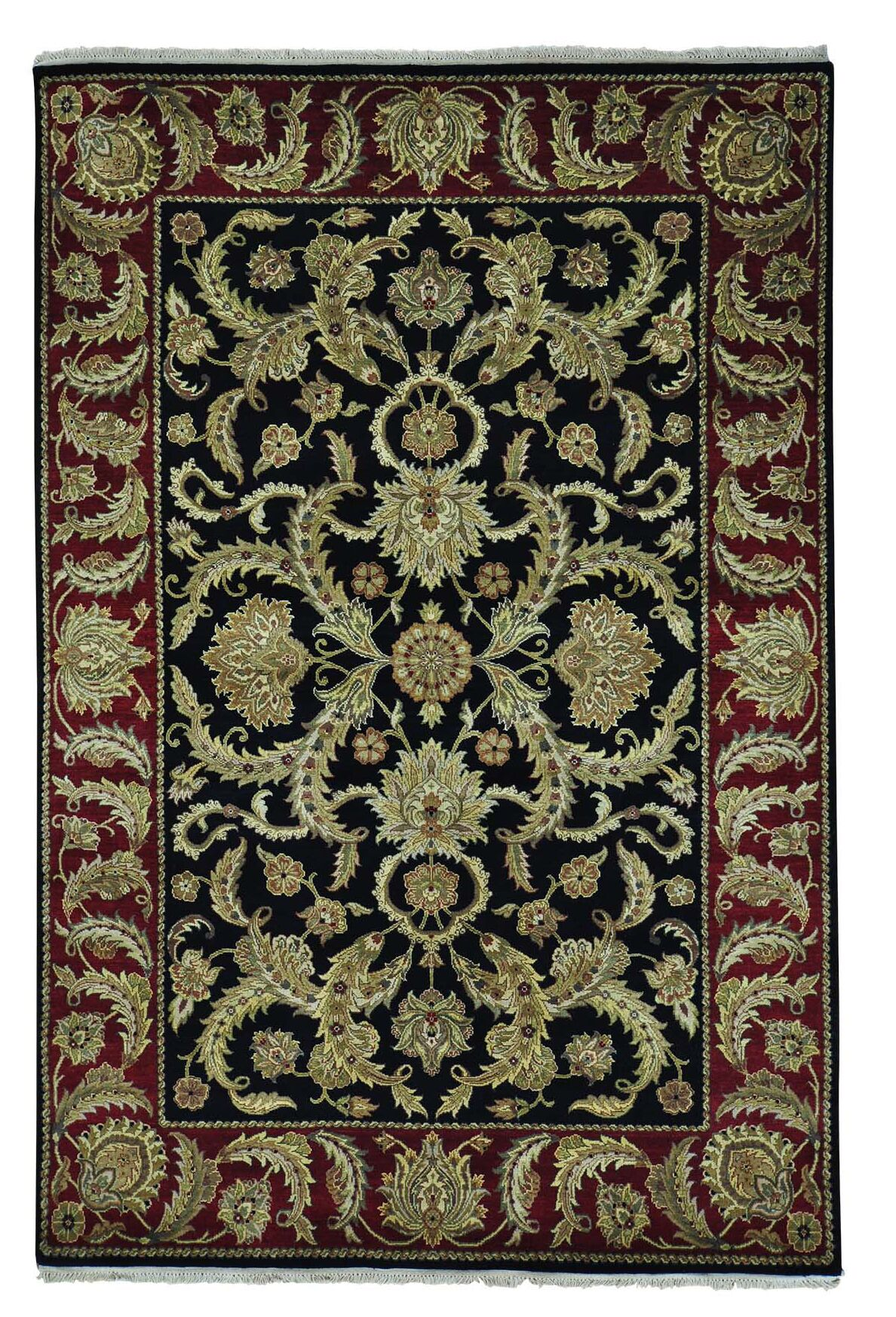 One-of-a-Kind Plush Rajasthan Hand-Knotted Black Area Rug
