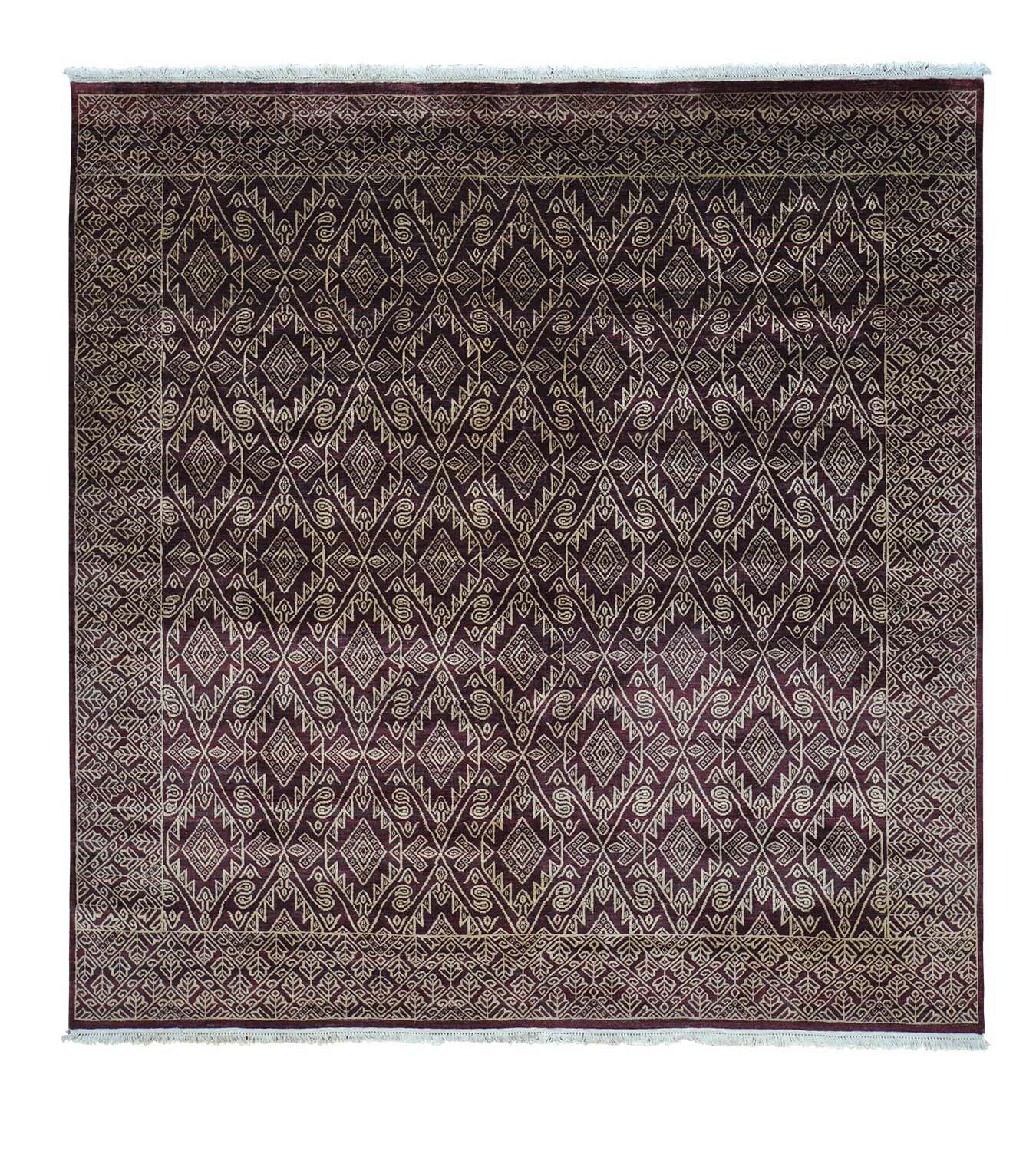 One-of-a-Kind Tone on Tone Hand-Knotted Burgundy/Beige Area Rug