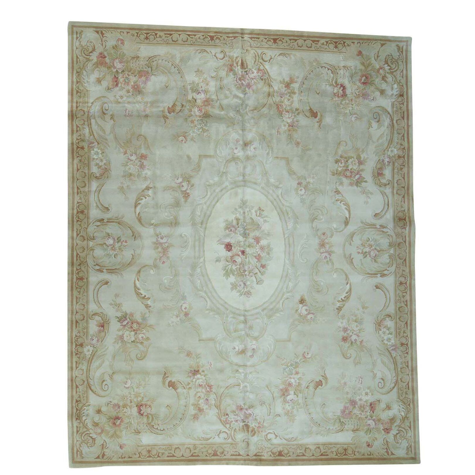 One-of-a-Kind Plush European Savonnerie Charles Hand-Knotted Ivory Area Rug