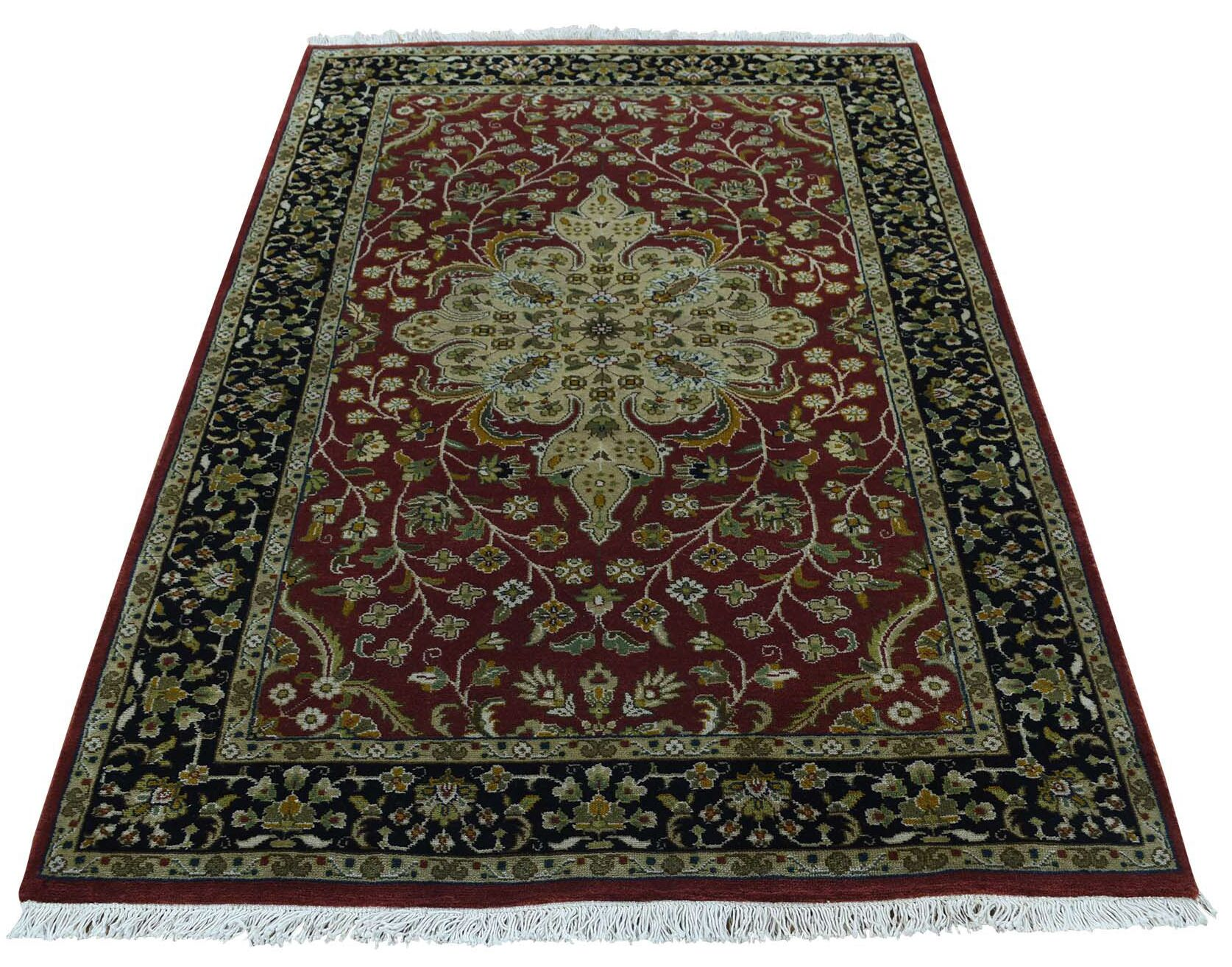 One-of-a-Kind Ruelas 300 Kpsi New Zealand Revival Hand-Knotted Red Area Rug