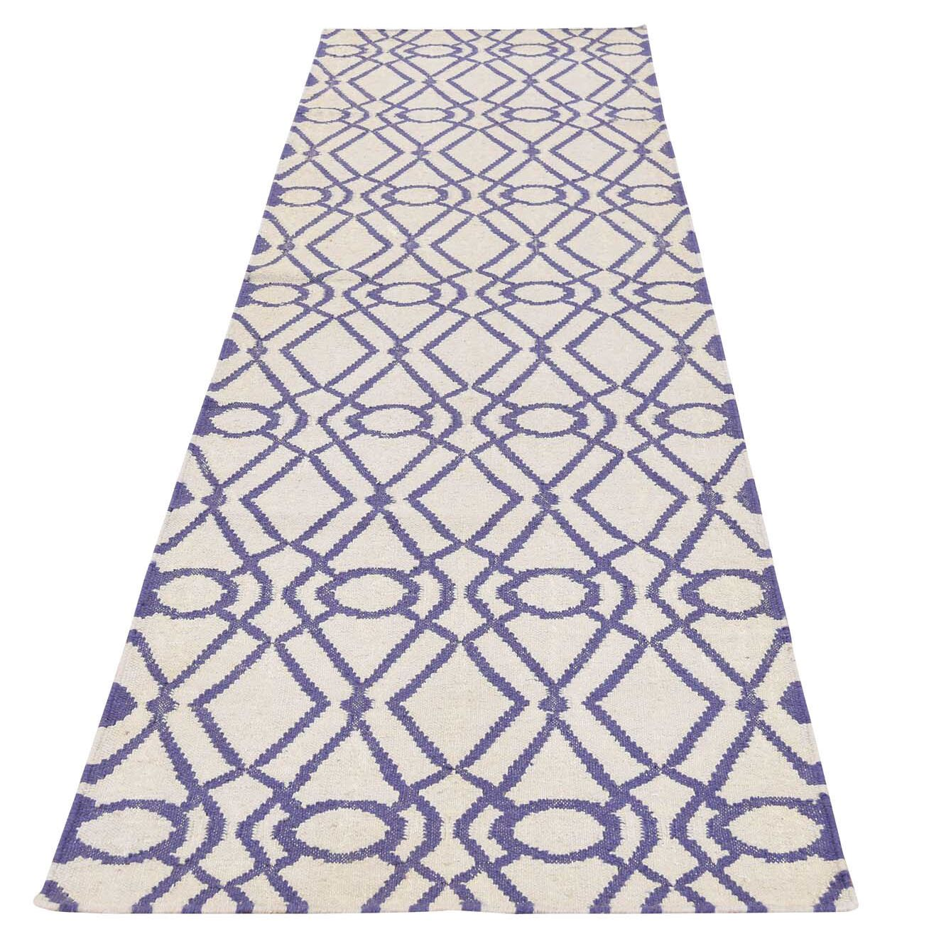 Flat Weave Reversible Durie Kilim Hand-Knotted Ivory Area Rug