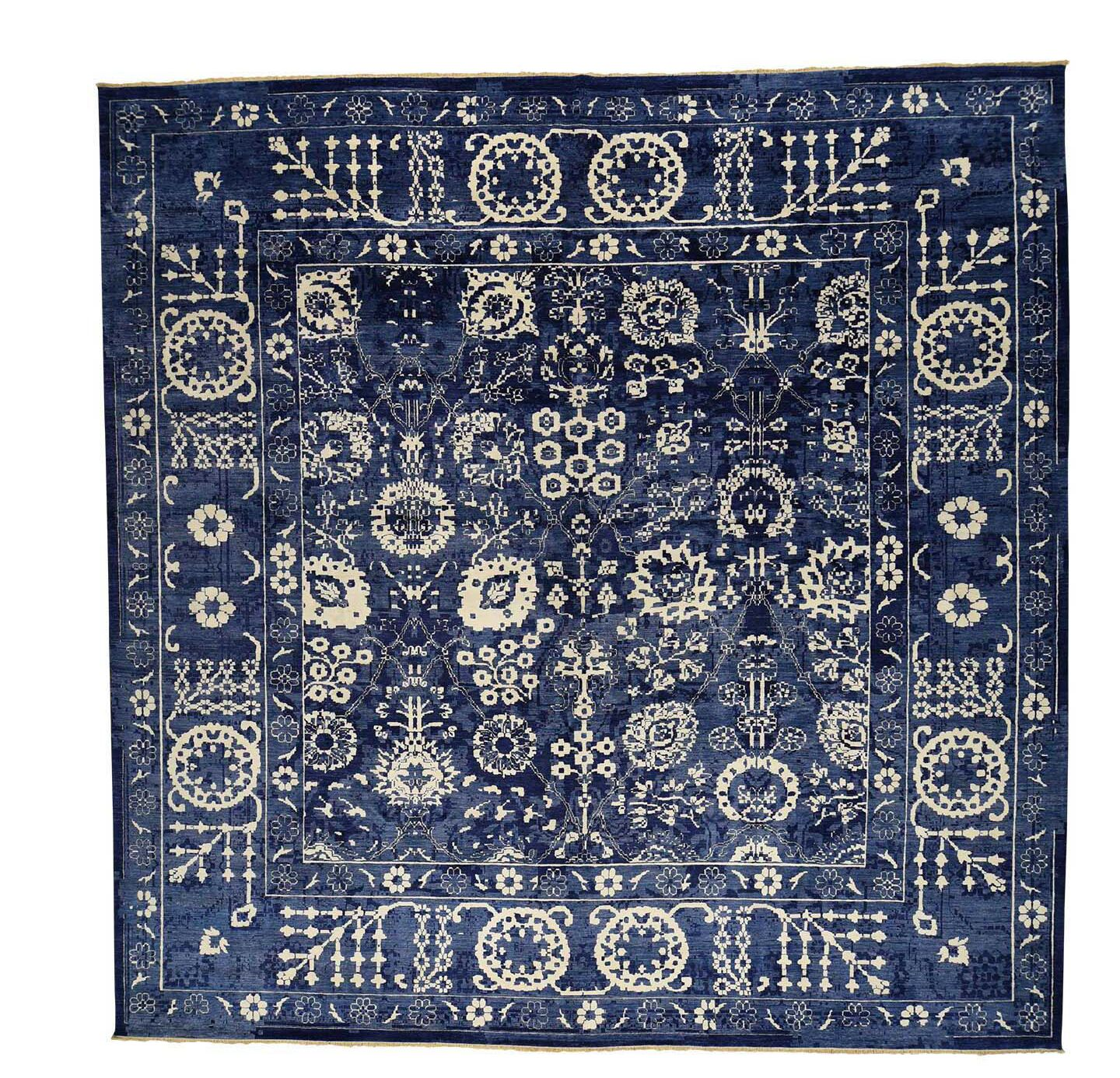 One-of-a-Kind Rudolph Tone on Tone Hand-Knotted Blue Area Rug